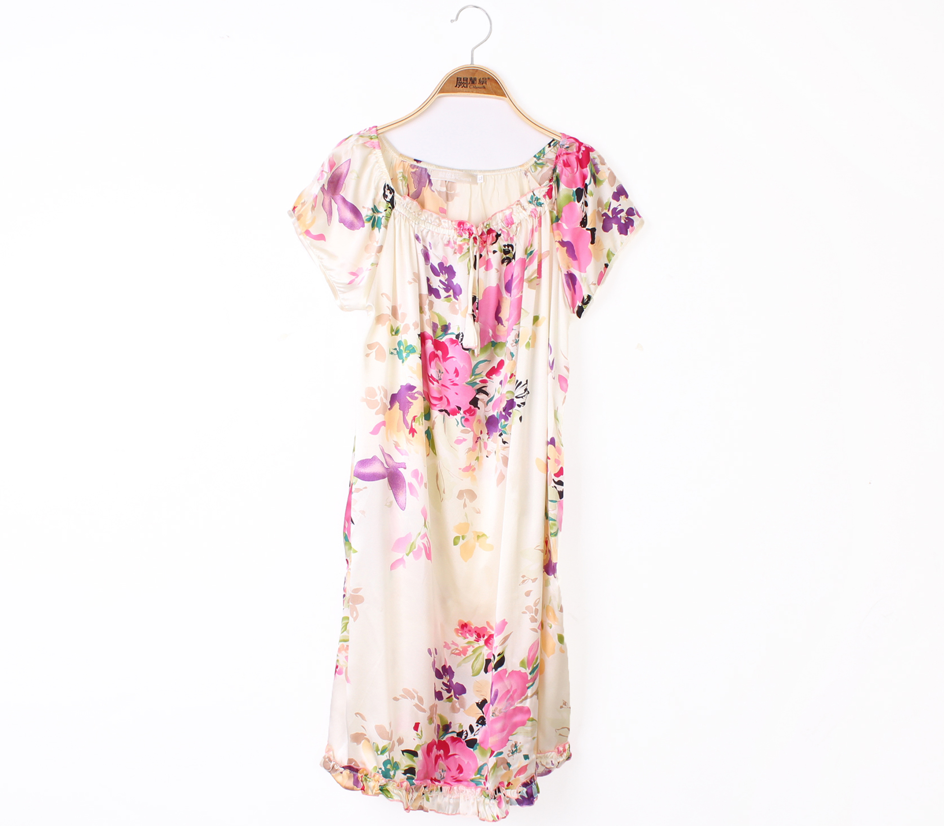 闕蘭絹南法風情印花輕盈舒適100%蠶絲連身睡衣