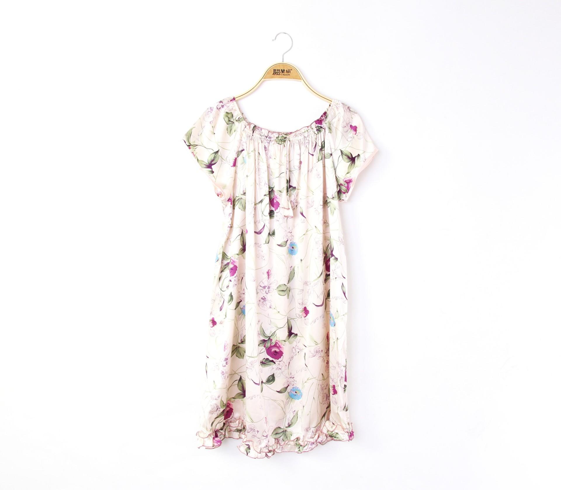 闕蘭絹夢幻花園100%蠶絲雪紡睡衣洋裝-2230-3