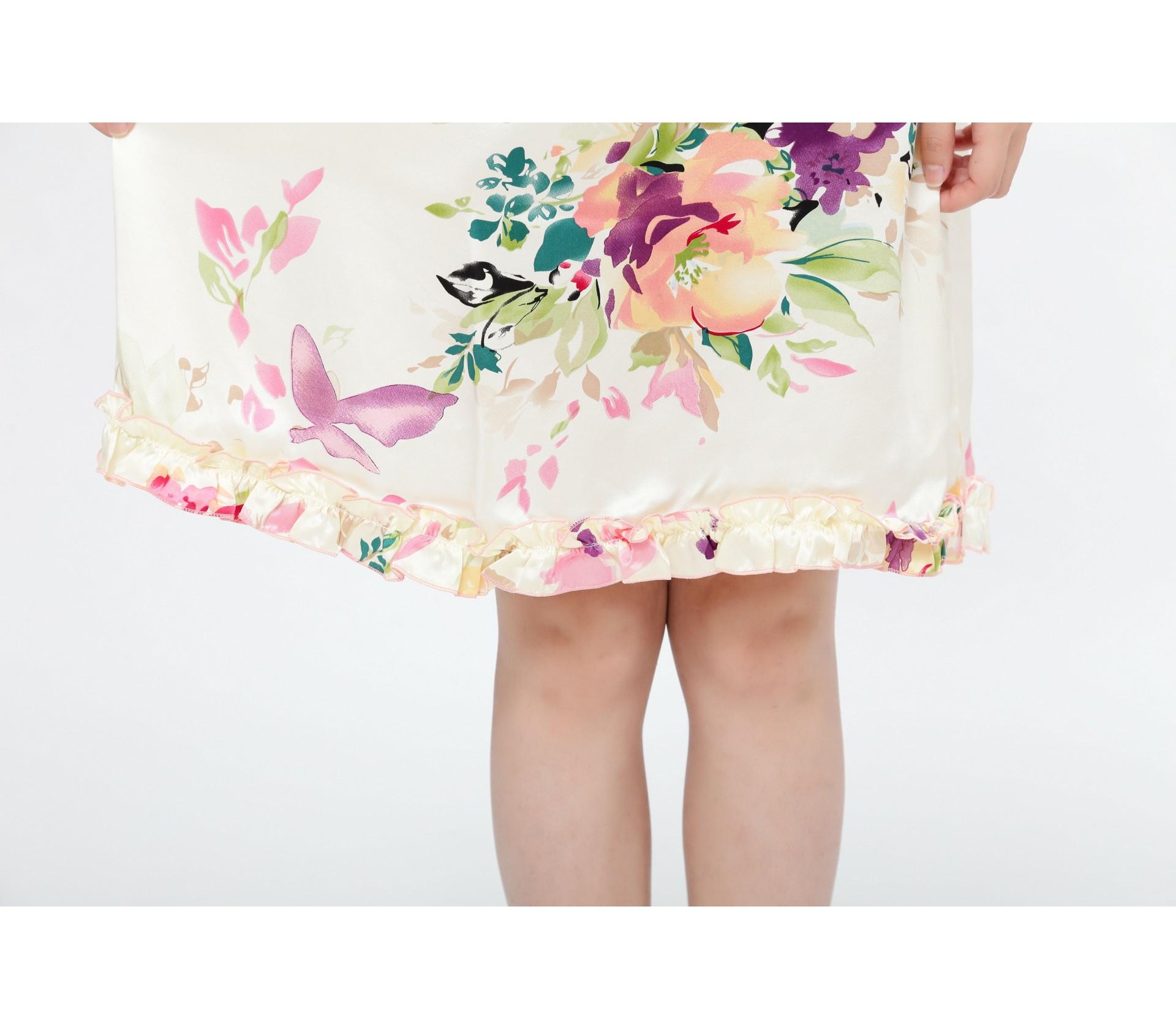 闕蘭絹南法風情印花輕盈舒適100%蠶絲連身睡衣-2230-2