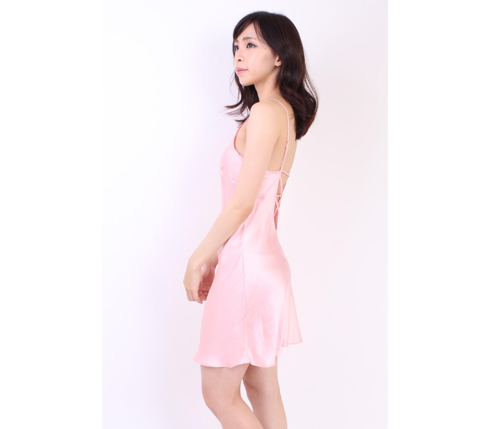 闕蘭絹細肩柔美交叉美背100%蠶絲連身睡衣-3610