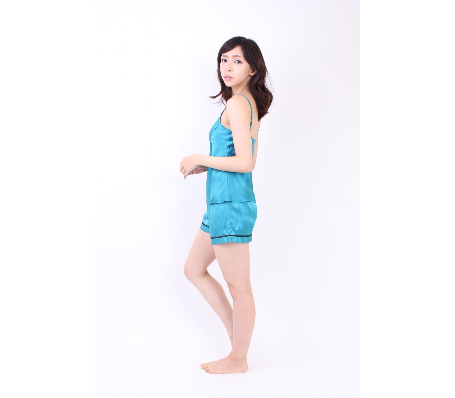 闕蘭絹性感露背短褲家居服100%蠶絲套裝睡衣