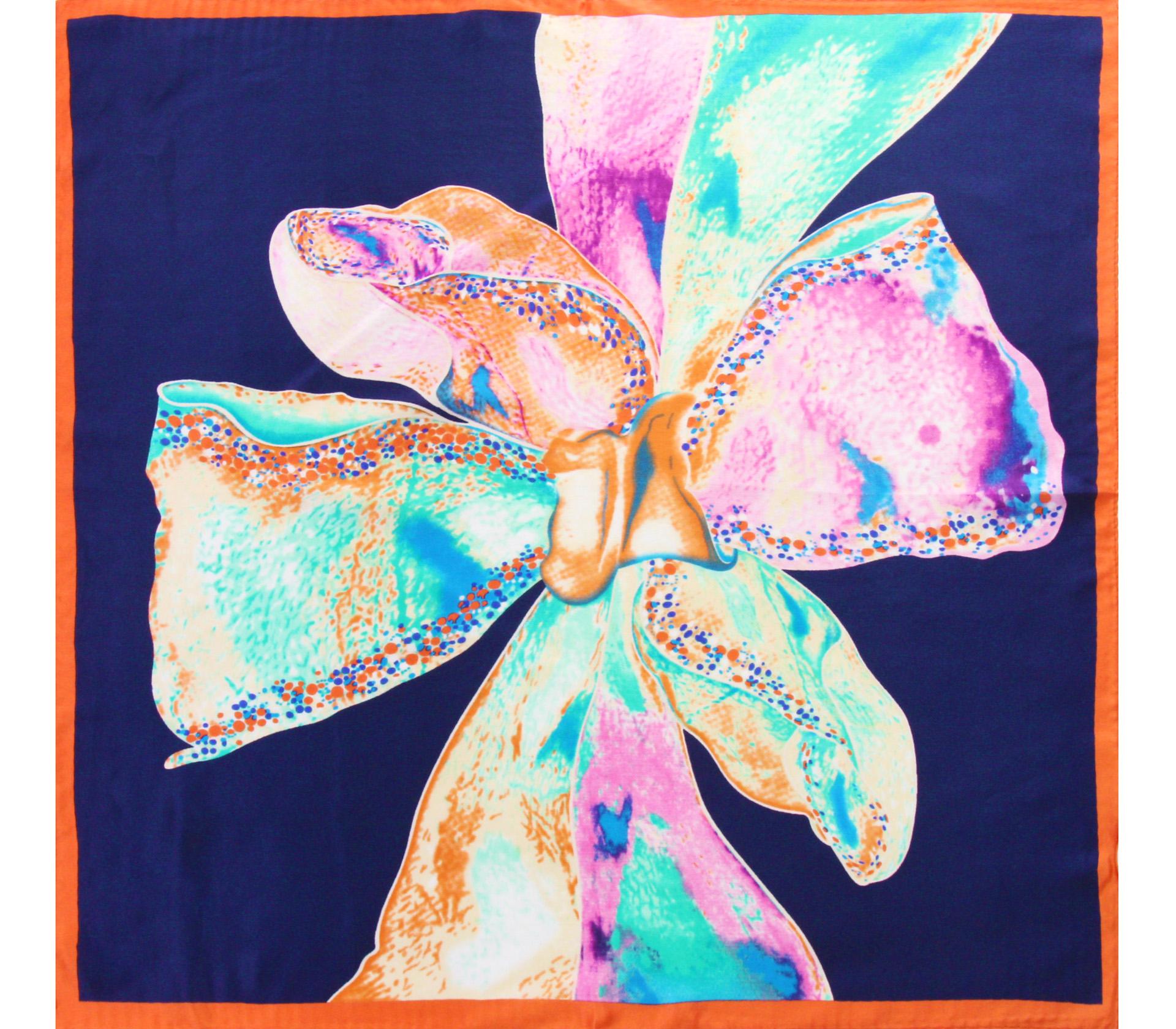 闕蘭絹100%蠶絲渲染彩色蝴蝶結方巾-S2010