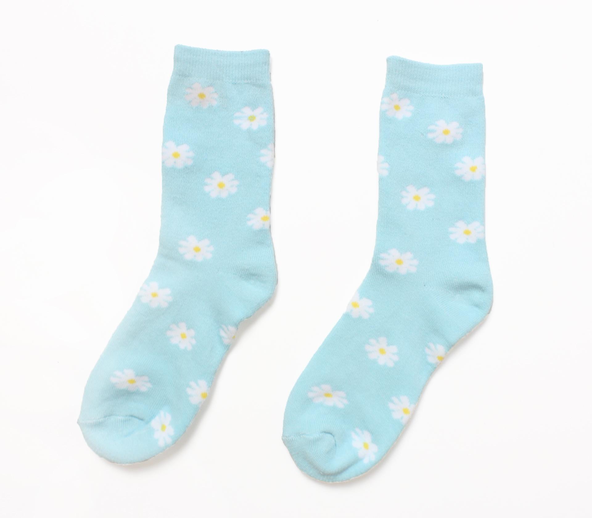 復古太陽花朵淺藍色短襪(24-27CM)