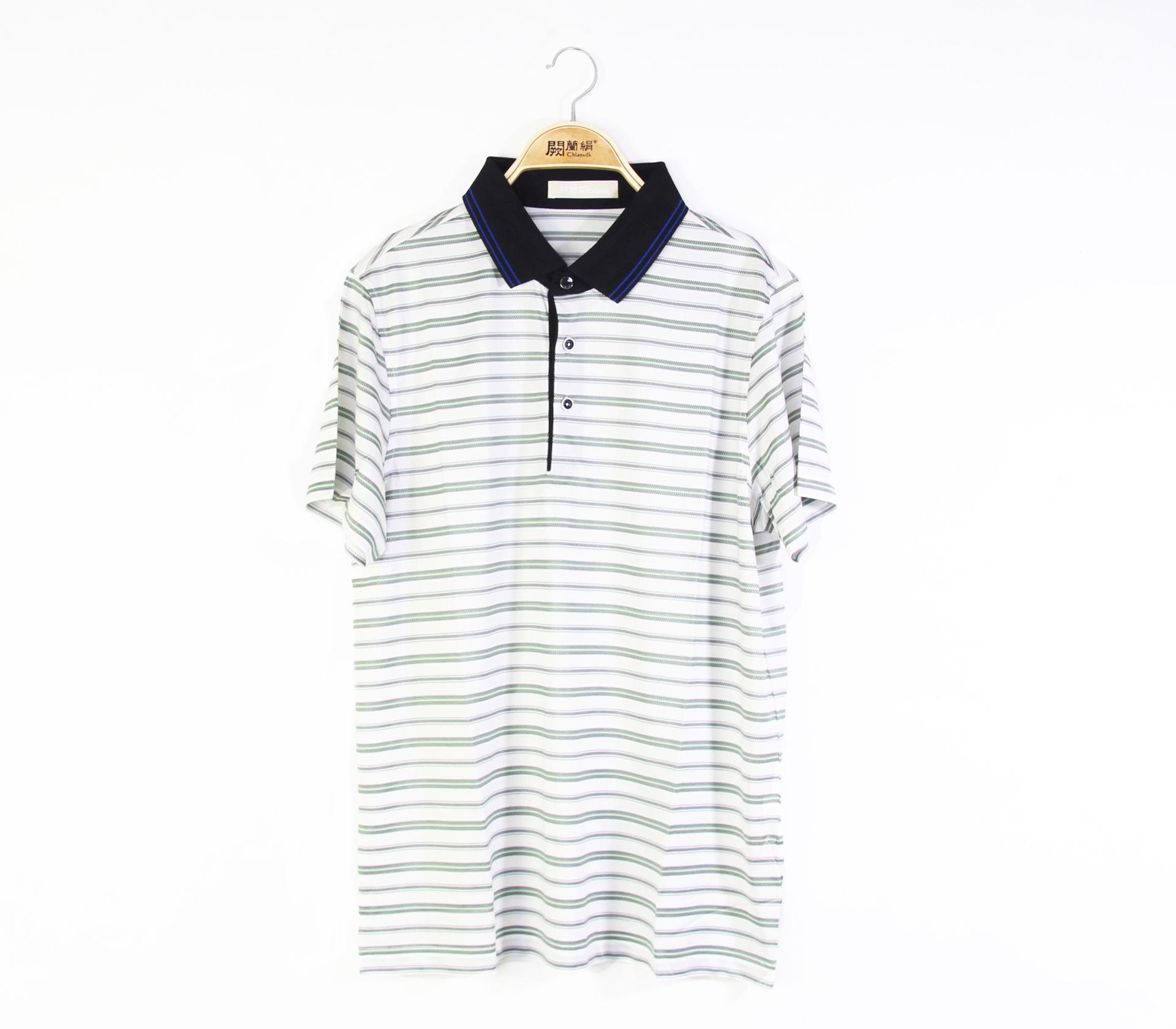 闕蘭絹舒適涼感經典線條100%蠶絲polo衫5505(綠)