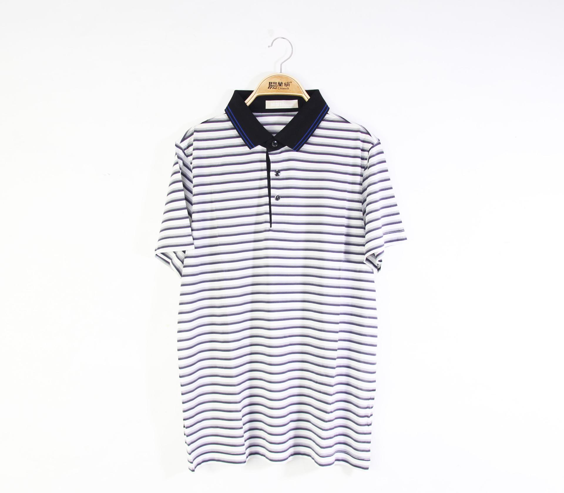 闕蘭絹舒適涼感經典線條100%蠶絲polo衫(紫)-5506