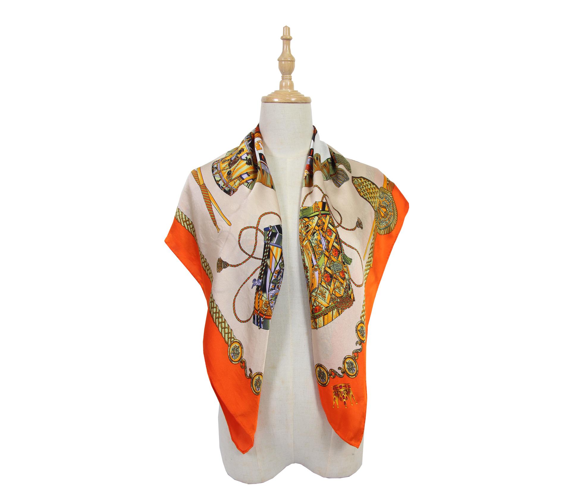 闕蘭絹印花橘色100%蠶絲大方絲巾 87*87  - 1009