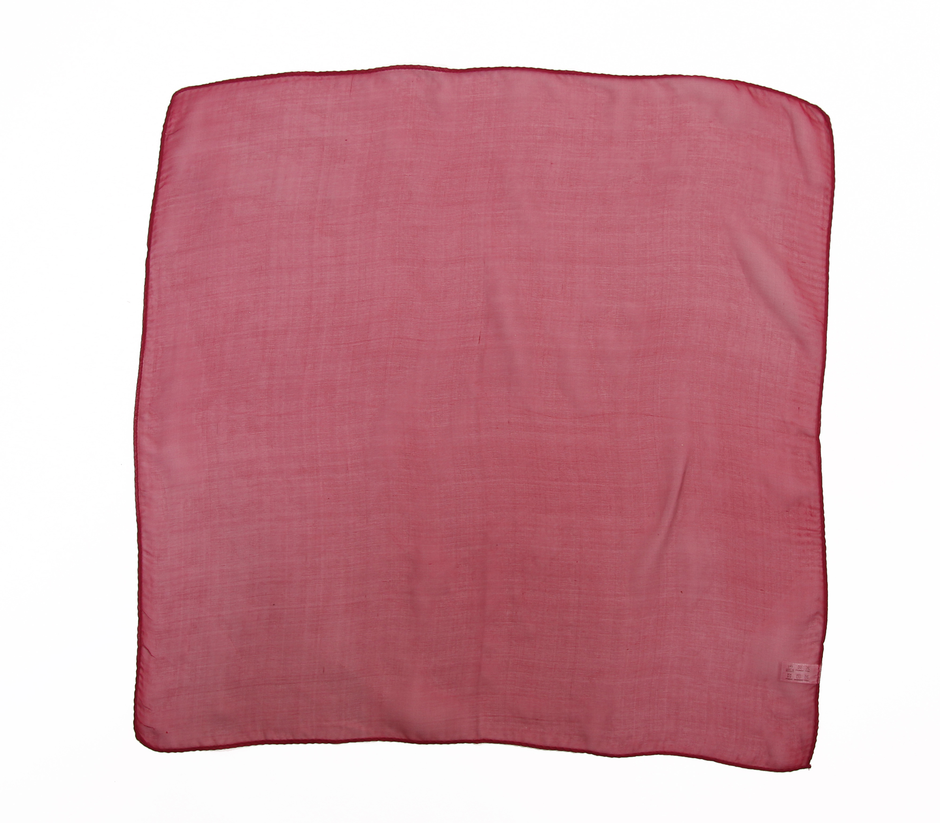 素面雪紡100%蠶絲絲巾50*50CM  - 1101 - 酒紅