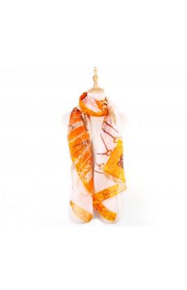闕蘭絹品味風格鎖鏈款100%蠶絲絲巾-1102