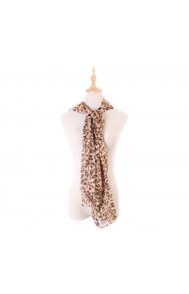 闕蘭絹經典款滿滿豹紋100%蠶絲絲巾-1001