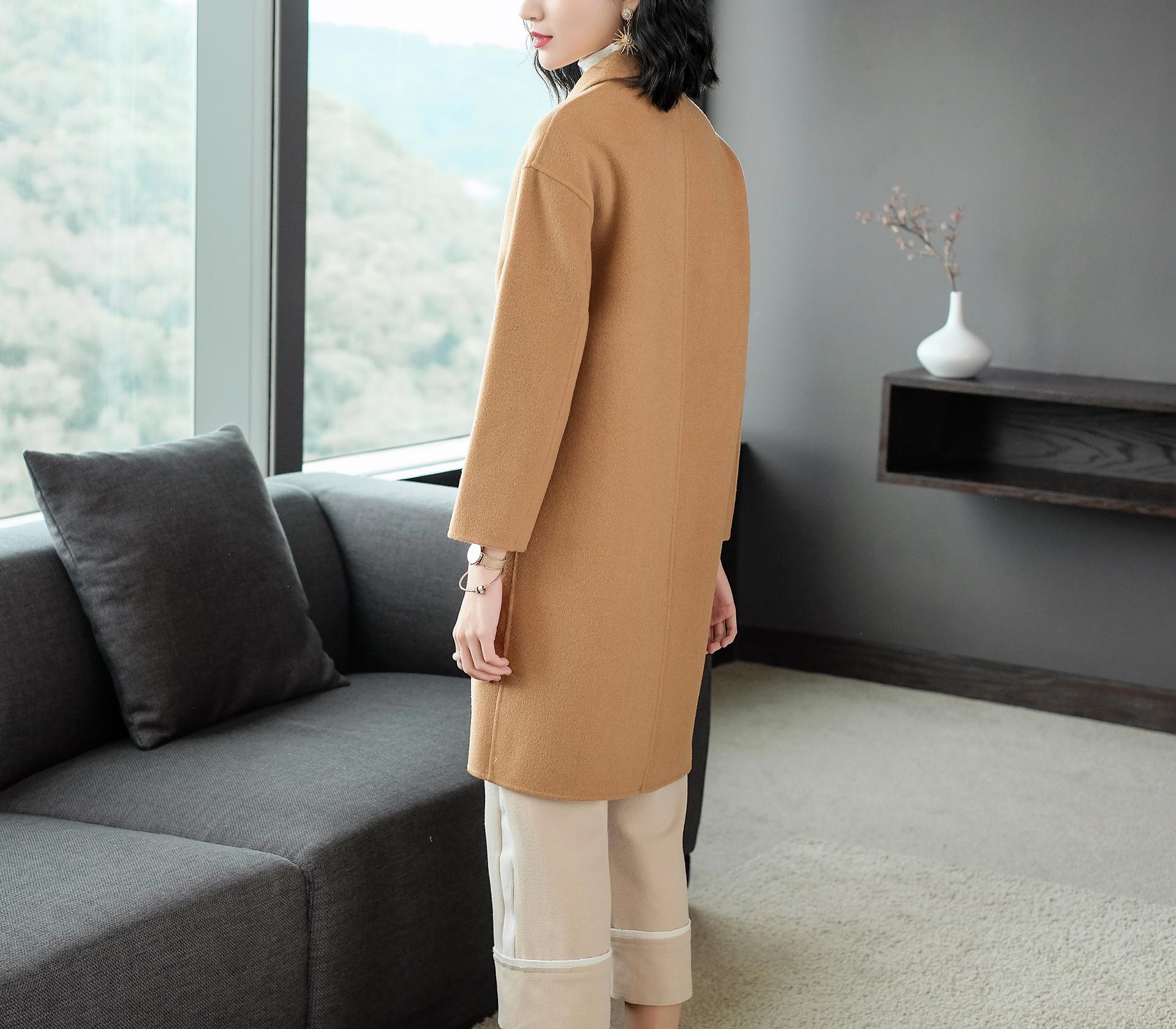 闕蘭絹俏皮貓咪羊毛長版大衣-139777