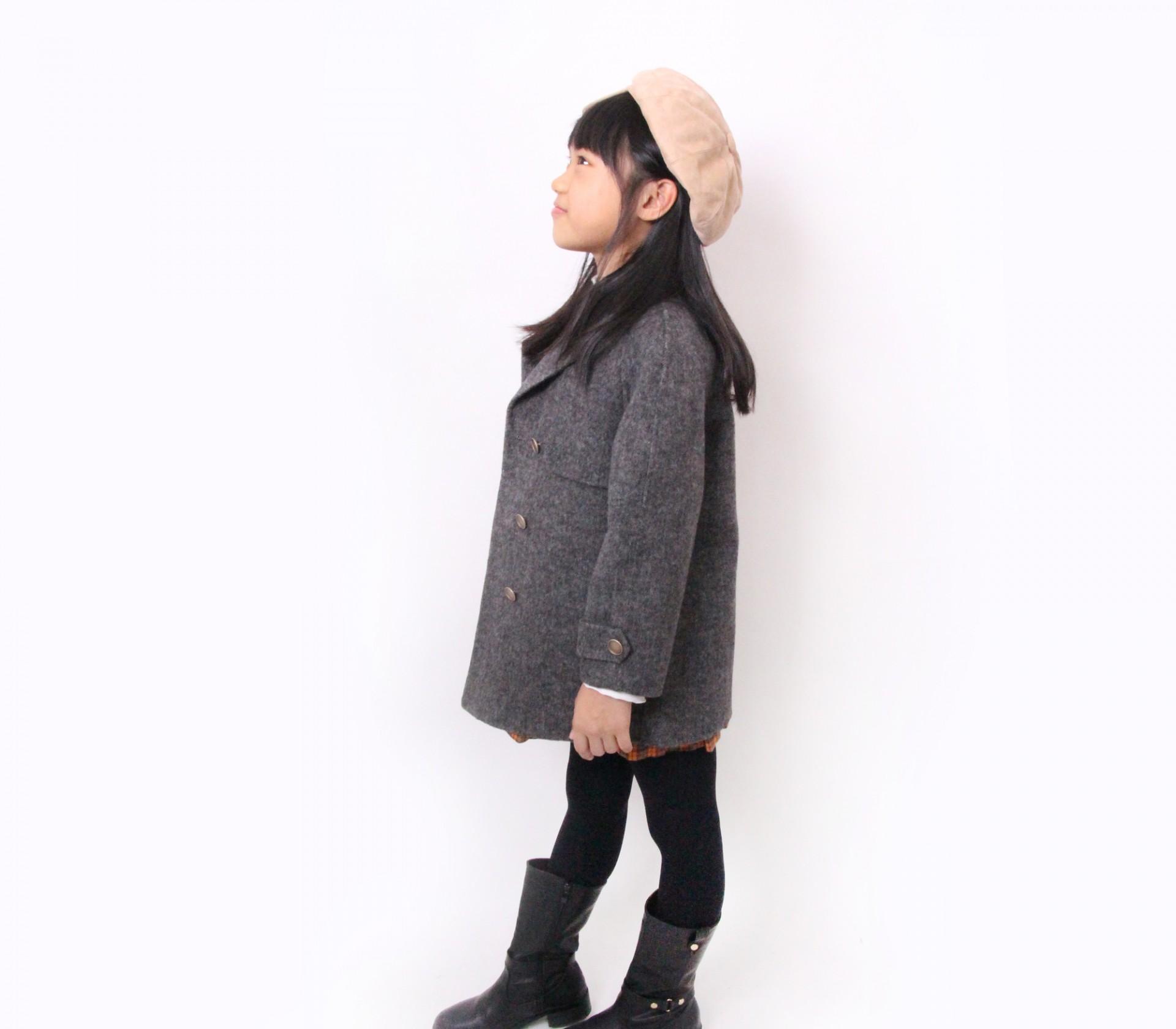 闕蘭絹KIDS西裝式灰色羊毛大衣-18007