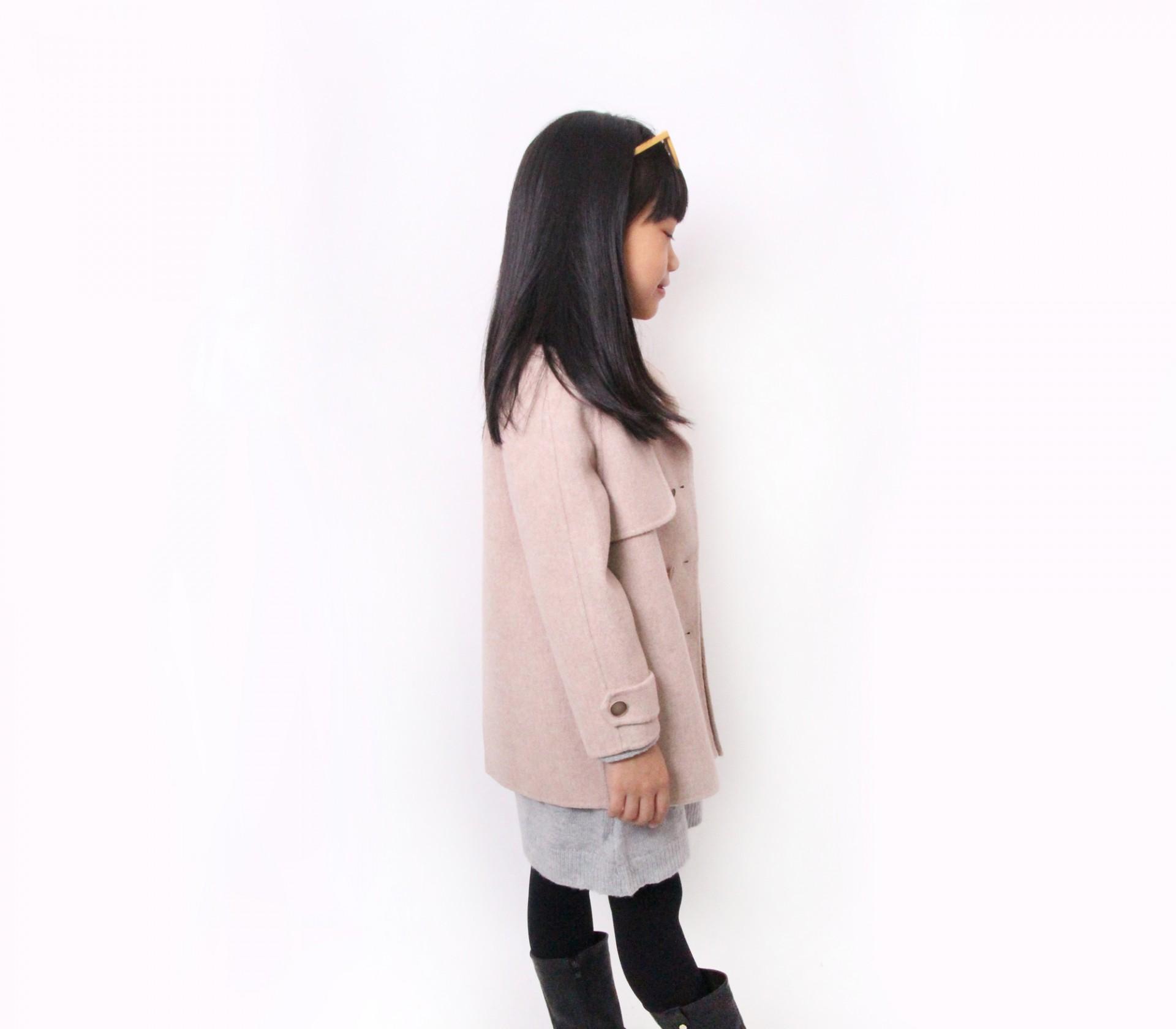 闕蘭絹KIDS西裝式駝色羊毛大衣-18007