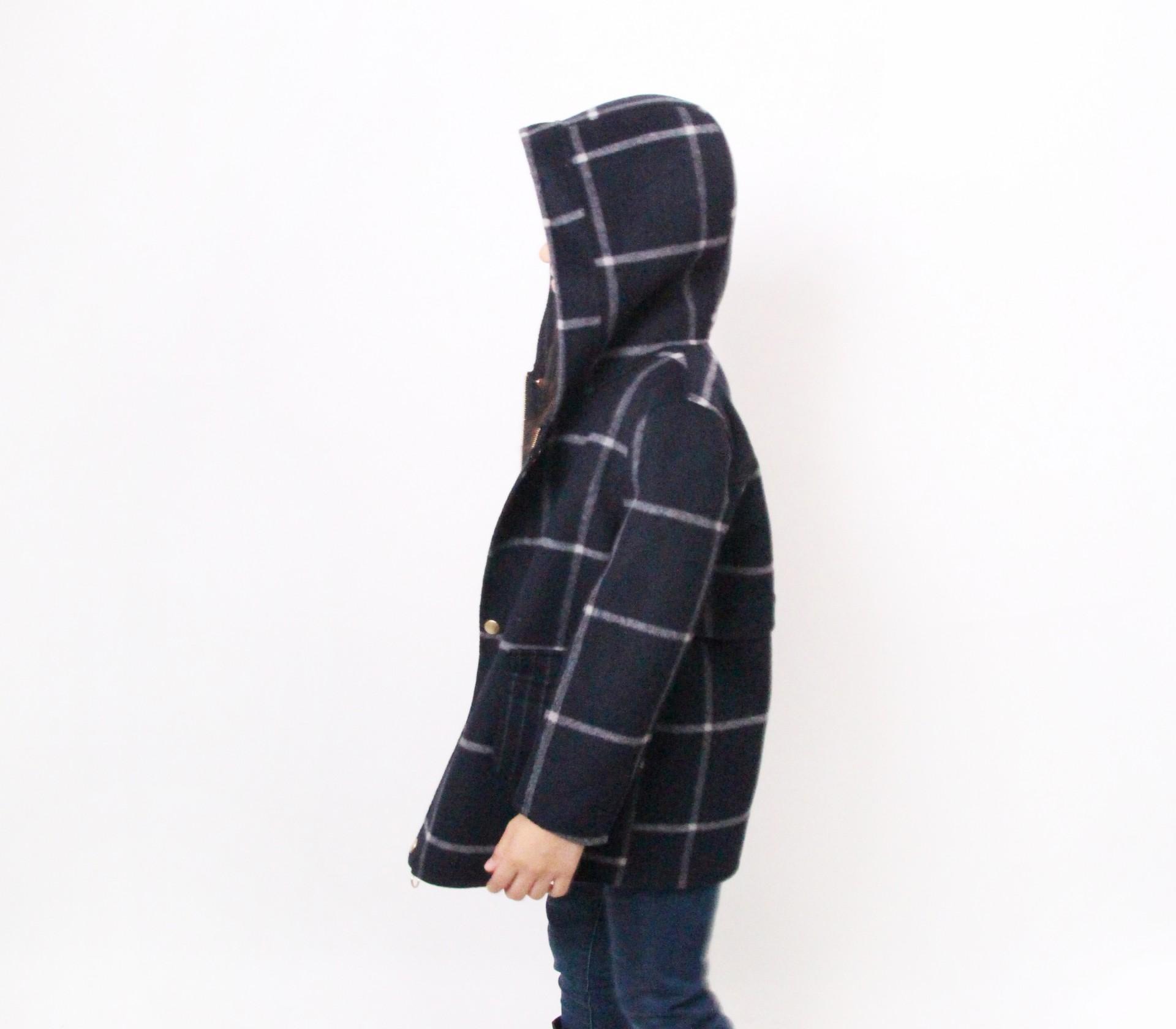 闕蘭絹KIDS連帽格紋深藍色羊毛大衣-18008