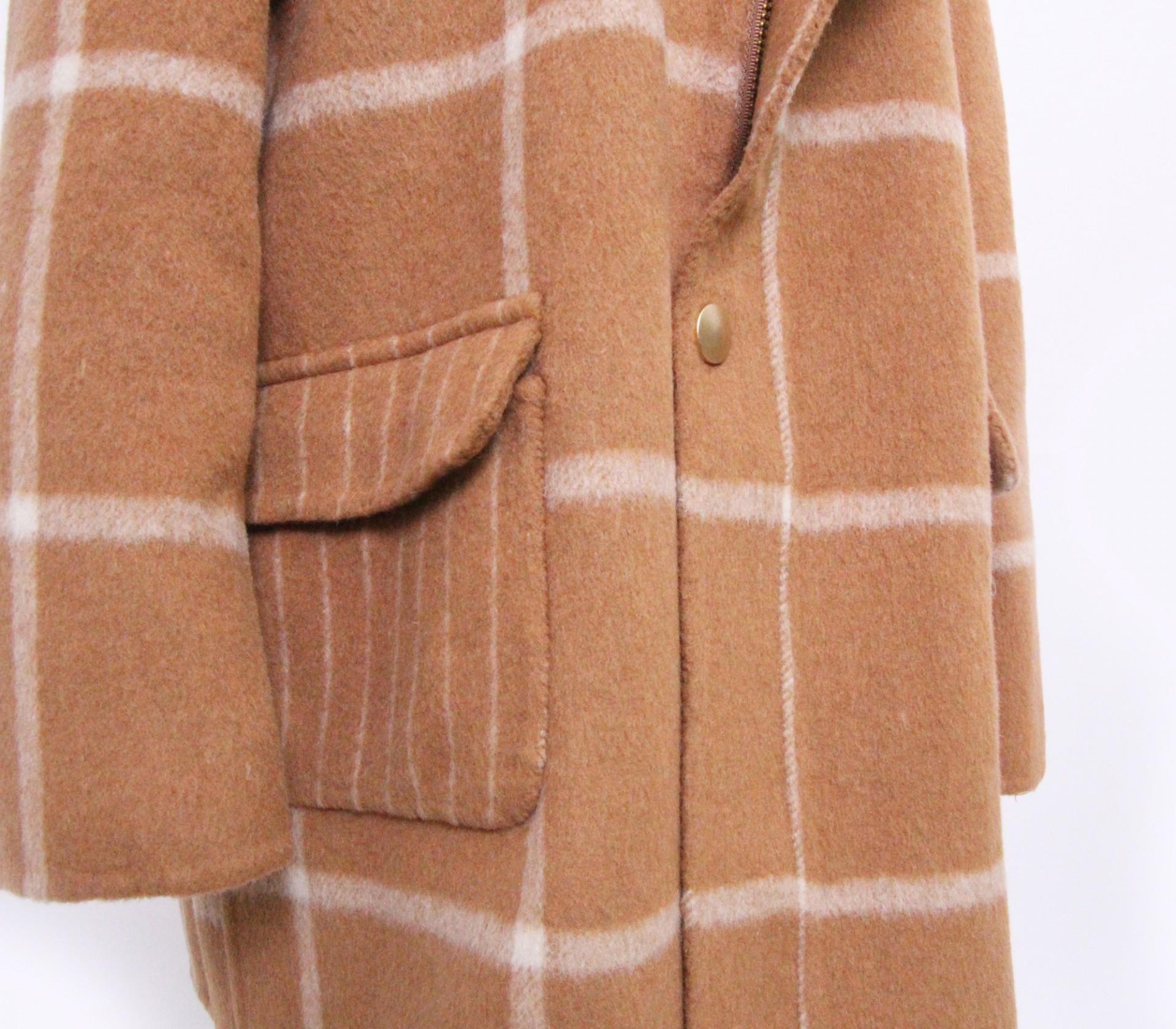 闕蘭絹KIDS連帽格紋駝色羊毛大衣-18008