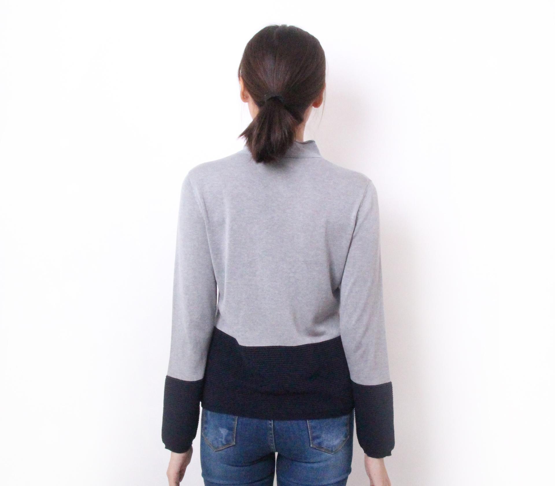 闕蘭絹立領名媛蠶絲針織上衣-灰色-2868-1
