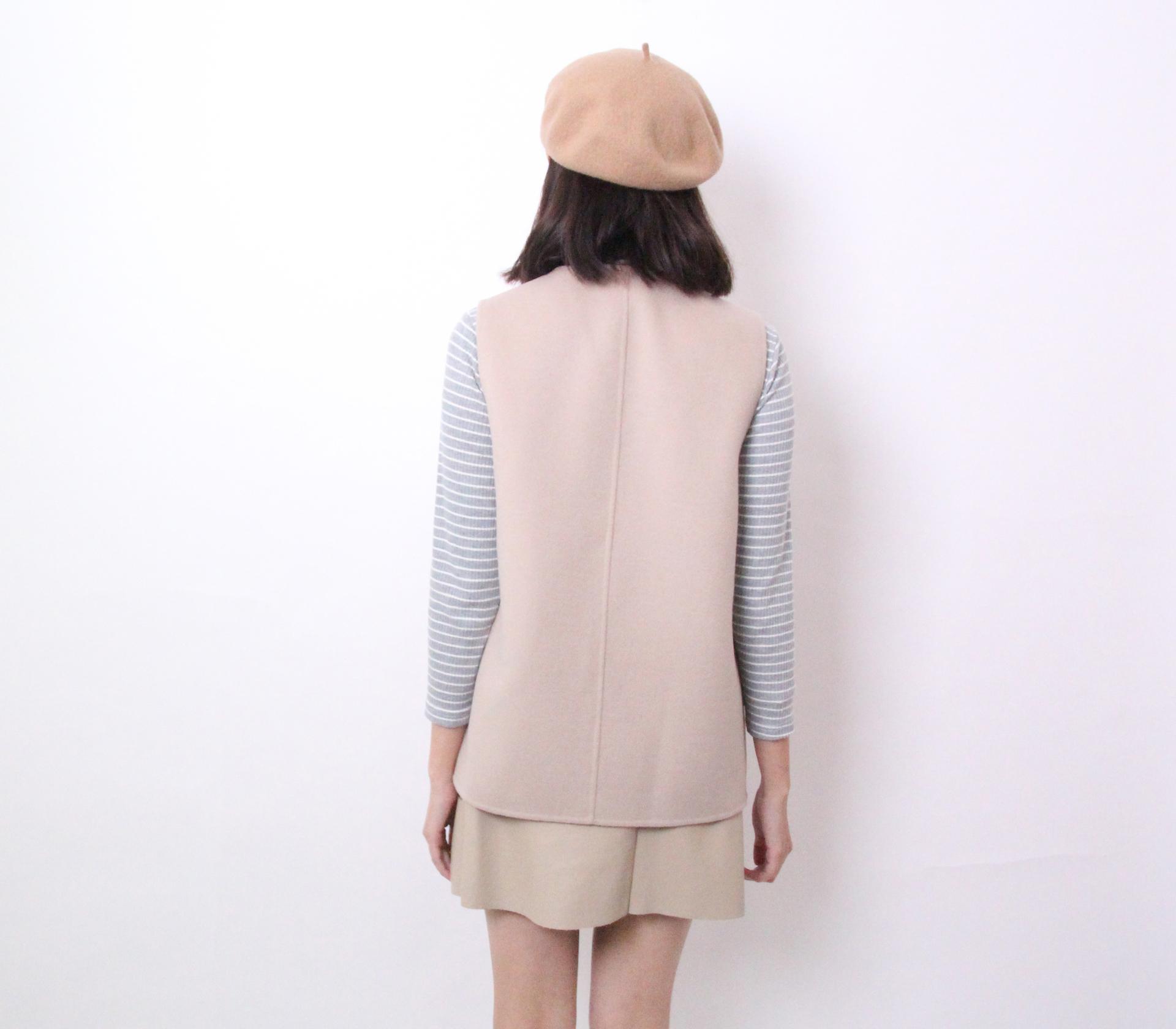 闕蘭絹簡約版短版羊毛背心-米白色-291-1