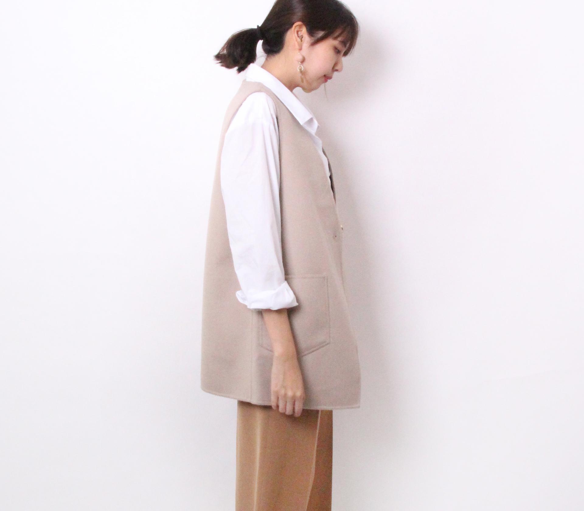 闕蘭絹簡約版長版羊毛背心-米色-291-3