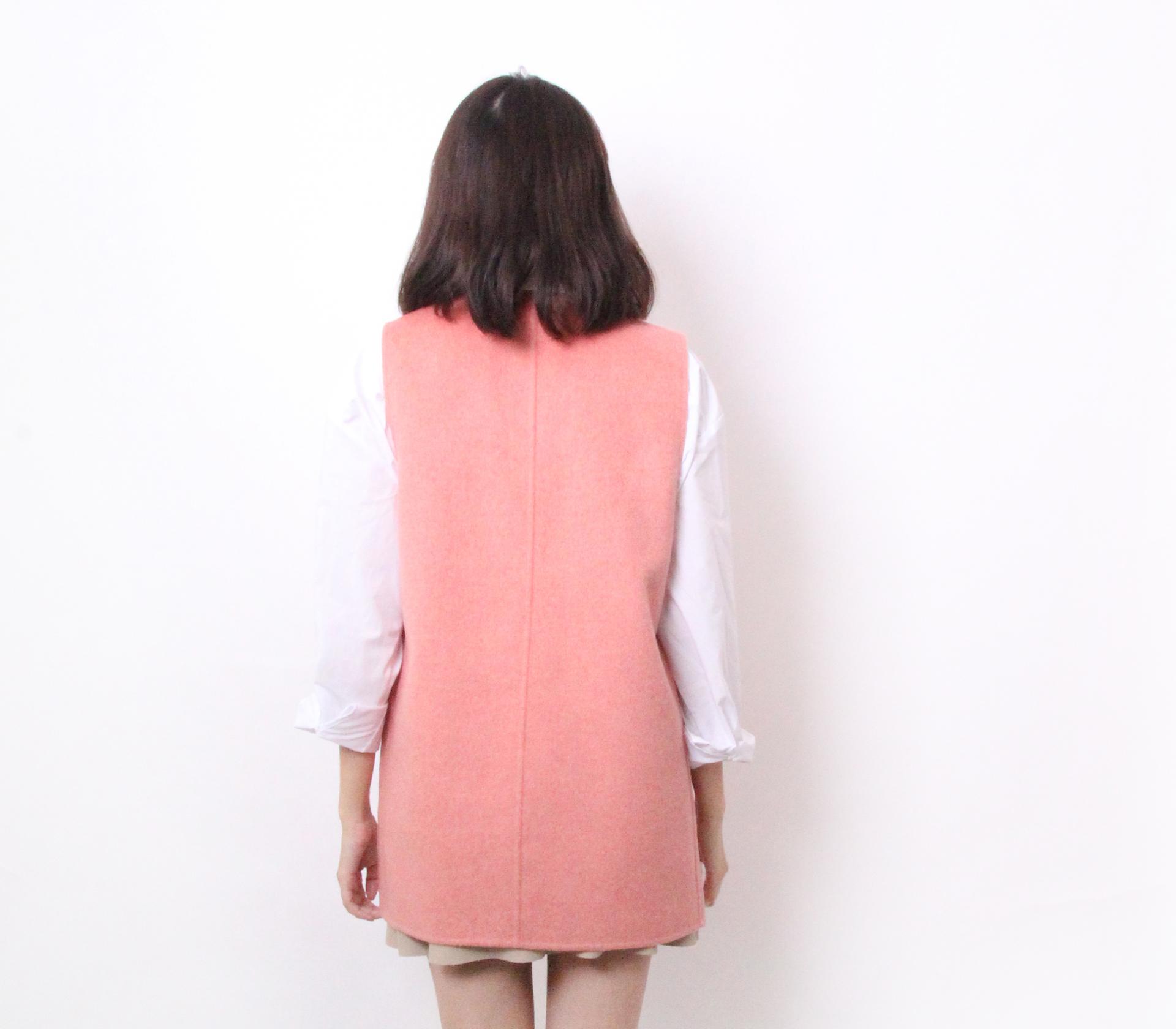 闕蘭絹簡約版長版羊毛背心-粉色-291-3
