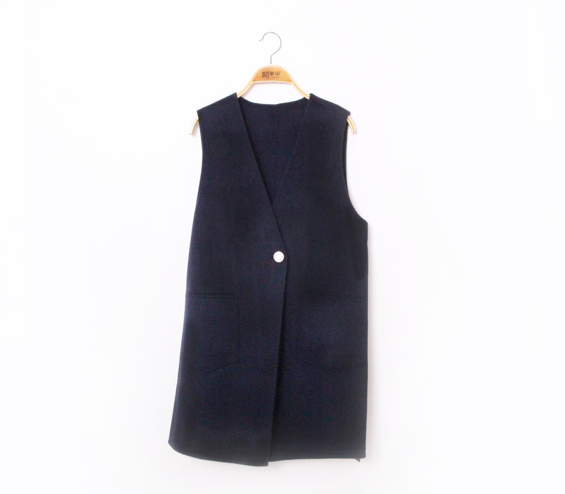 闕蘭絹簡約版長版羊毛背心-藍色-291-3
