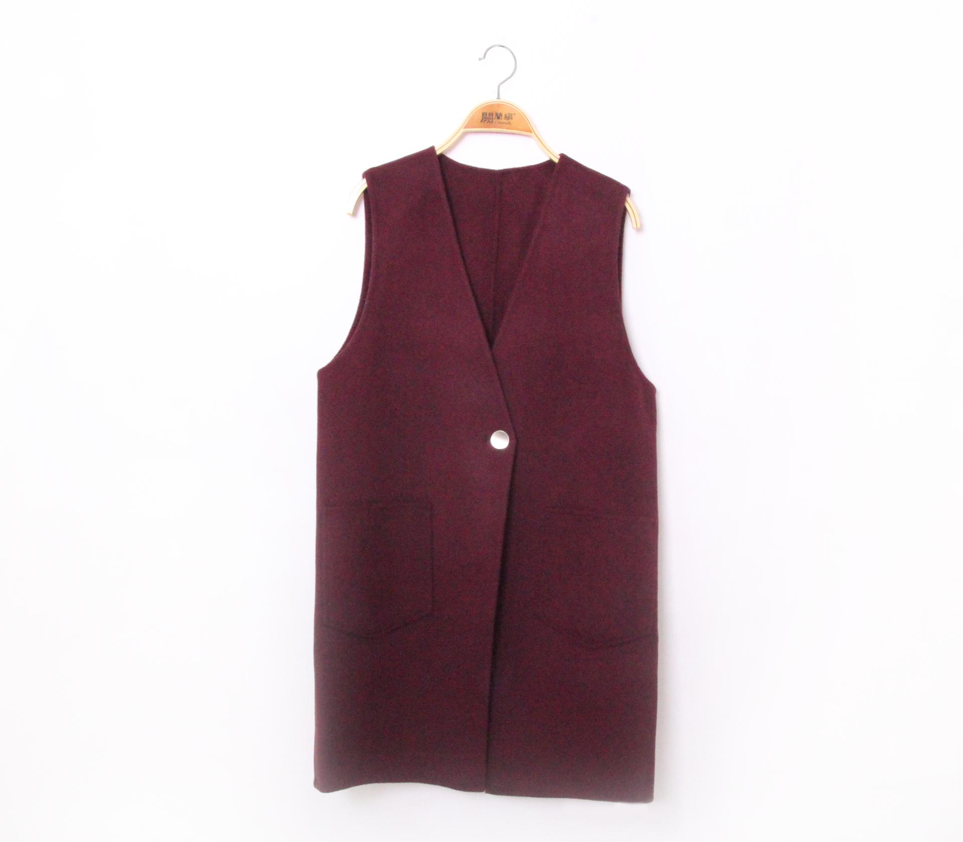 闕蘭絹簡約版長版羊毛背心-紅色-291-3