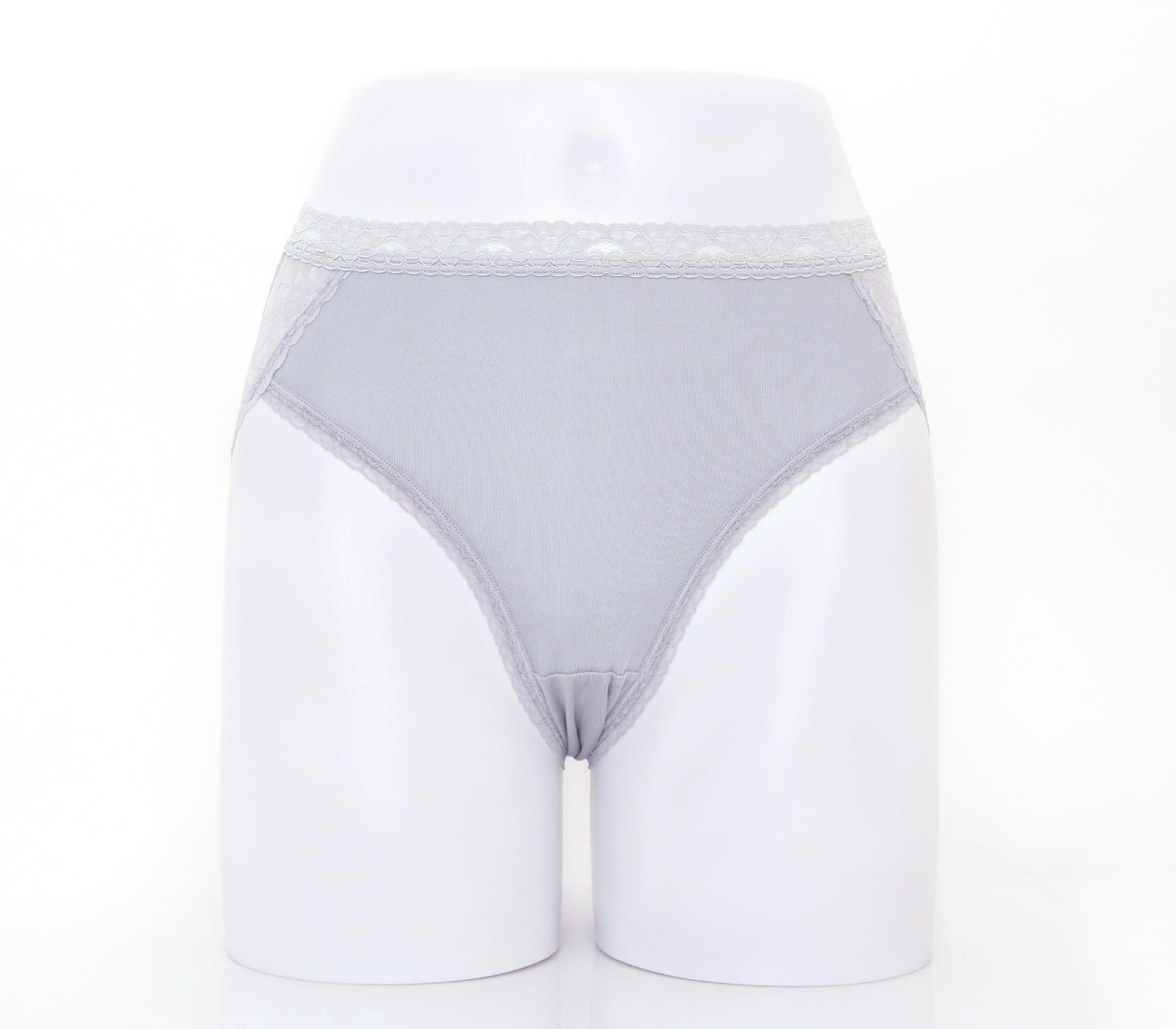 闕蘭絹優雅蕾絲花邊100%蠶絲內褲-3311(灰)