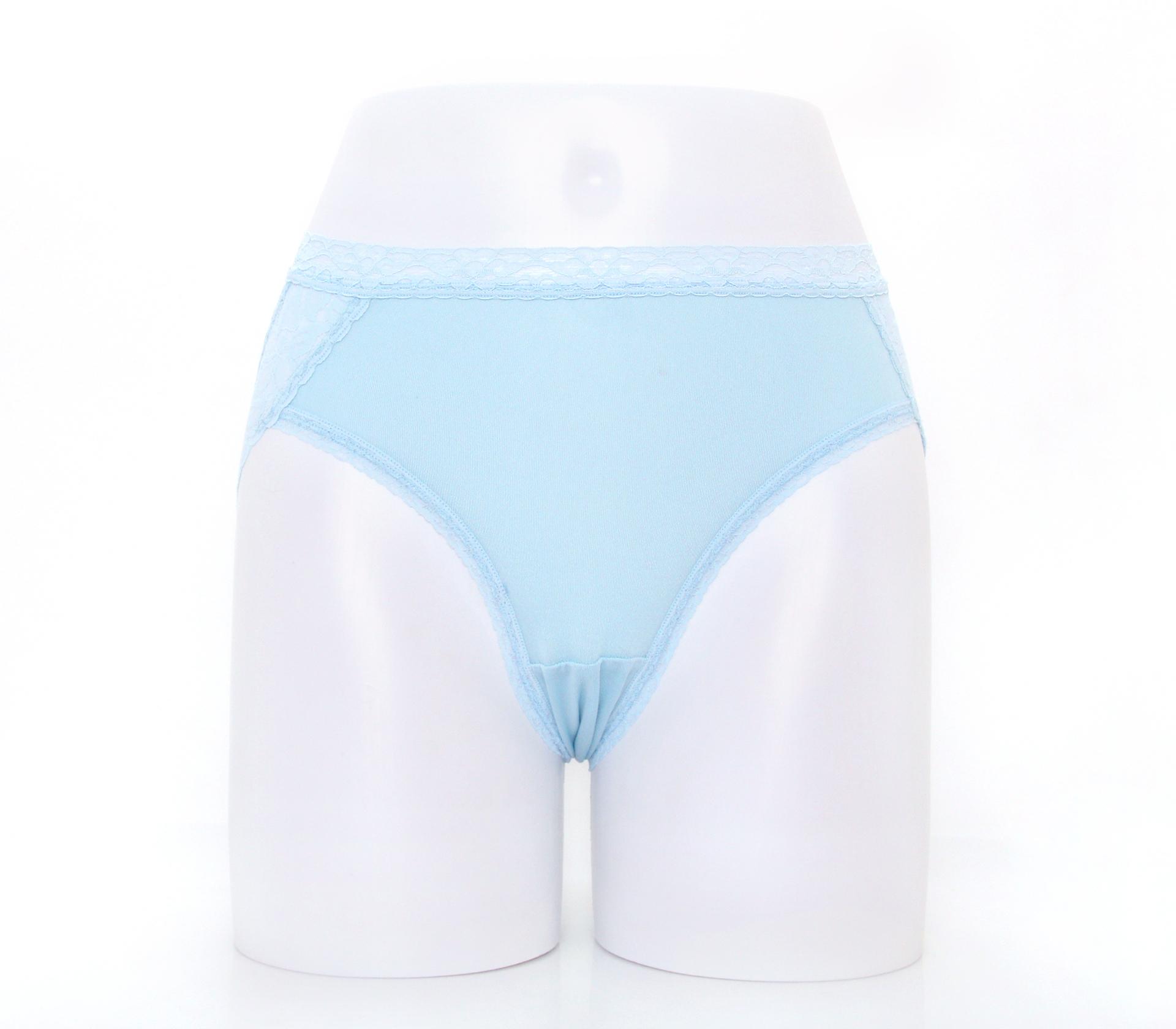 闕蘭絹優雅蕾絲花邊100%蠶絲內褲-3311(藍)
