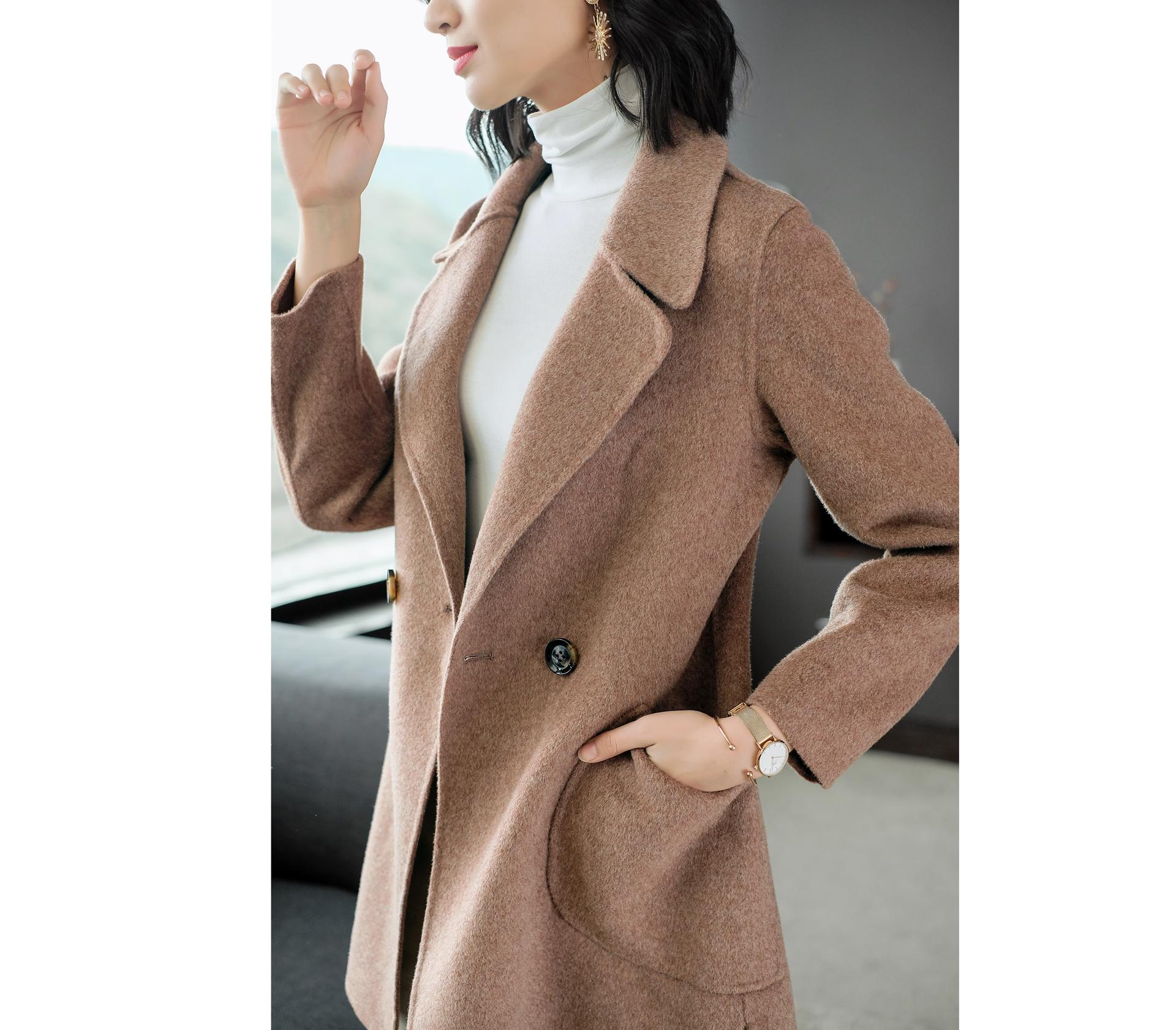 闕蘭絹西式羊毛棕紅色大衣中長版外套-339