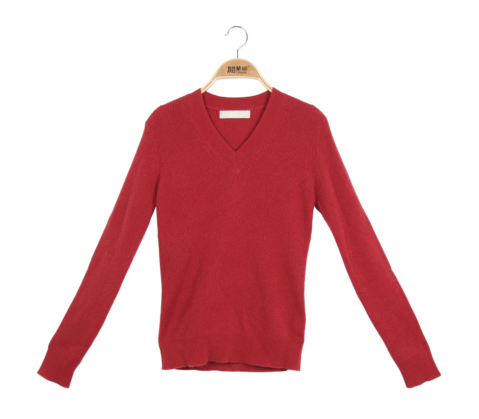 闕蘭絹100%羊絨V領長袖針織上衣 - 紅色 - 3614