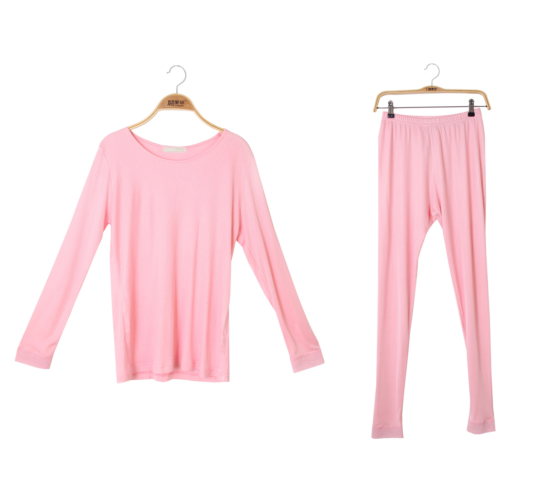 闕蘭絹舒適柔軟直條紋造型100%蠶絲睡衣褲裝 - 粉色 - 3614