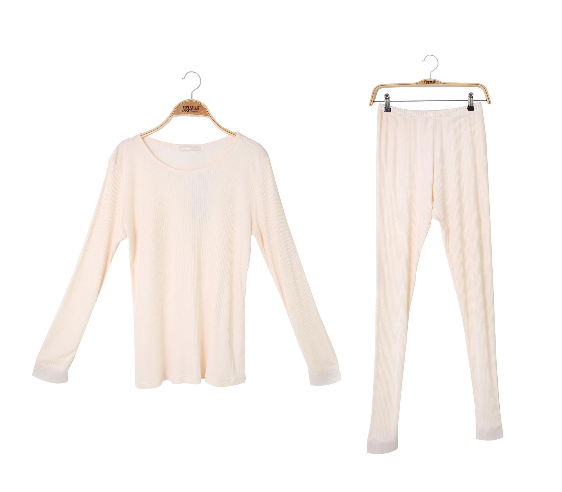 闕蘭絹舒適柔軟直條紋造型100%蠶絲睡衣褲裝 - 黃色 - 3614