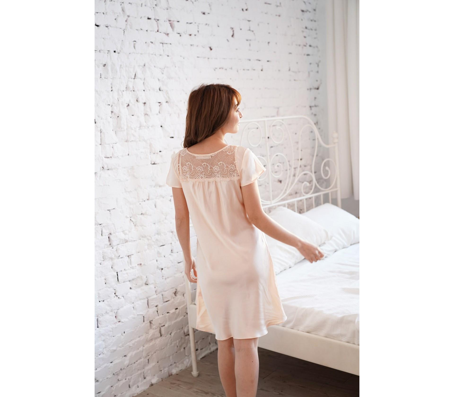 膚色蕾絲連身睡衣-3616