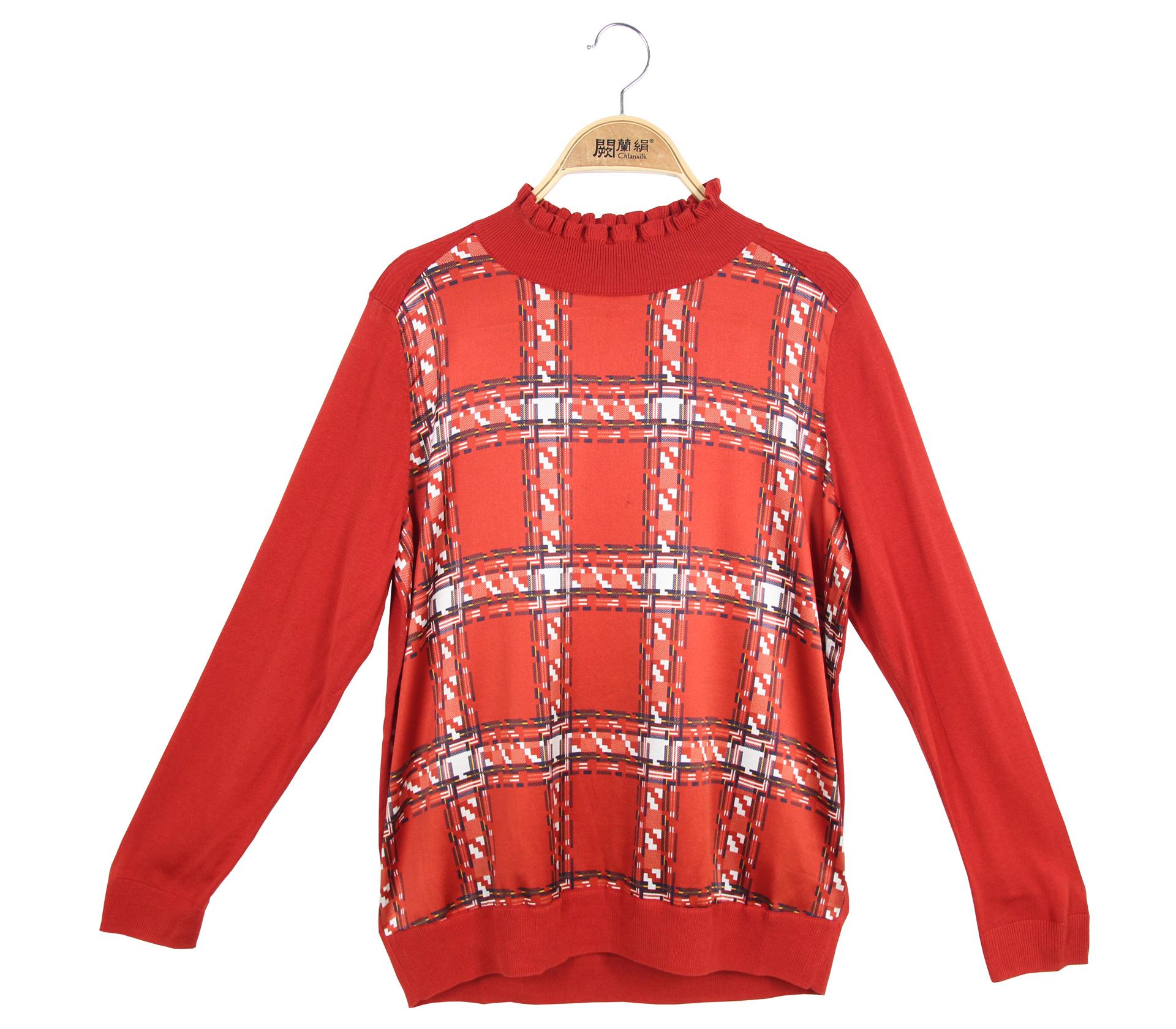 闕蘭絹花邊小領拼接滑布徽章蠶絲針織長袖上衣 - 酒紅色 - 3618