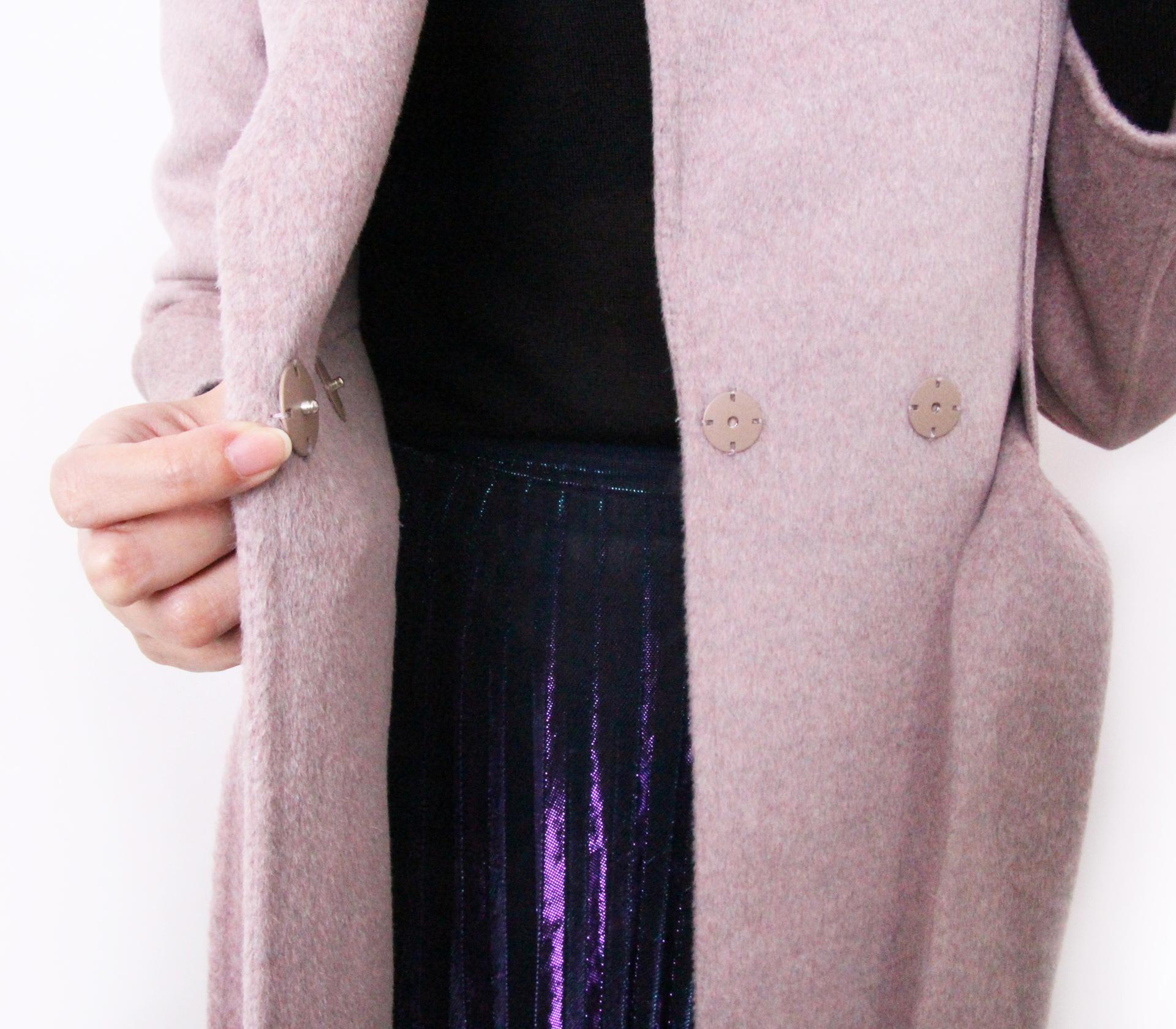 闕蘭絹V領綁帶蠶絲羊毛外套-363