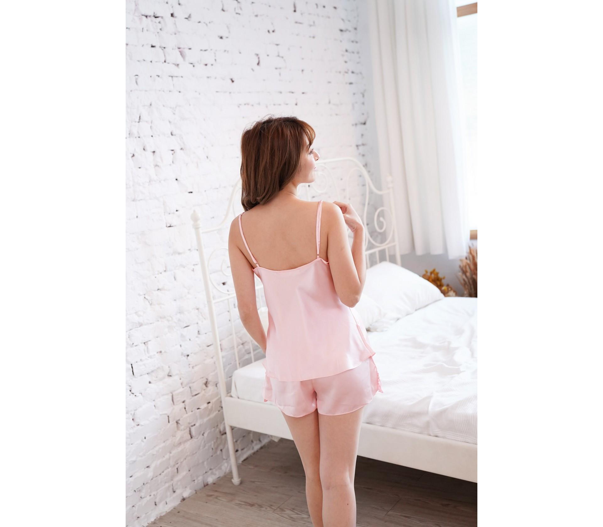 粉色細肩V領雕花套裝睡衣-3695