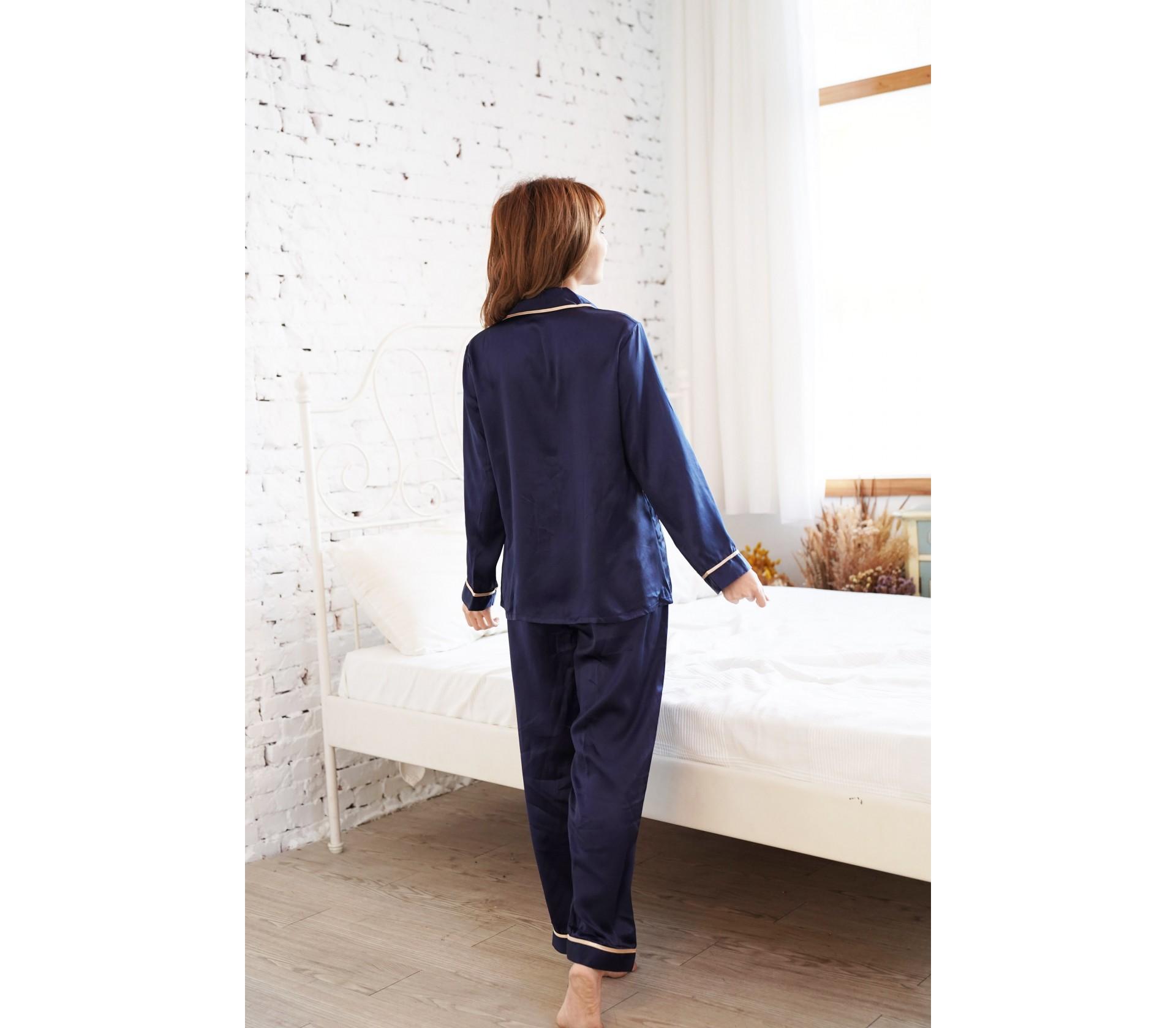 藍色滾邊長袖套裝睡衣-3760