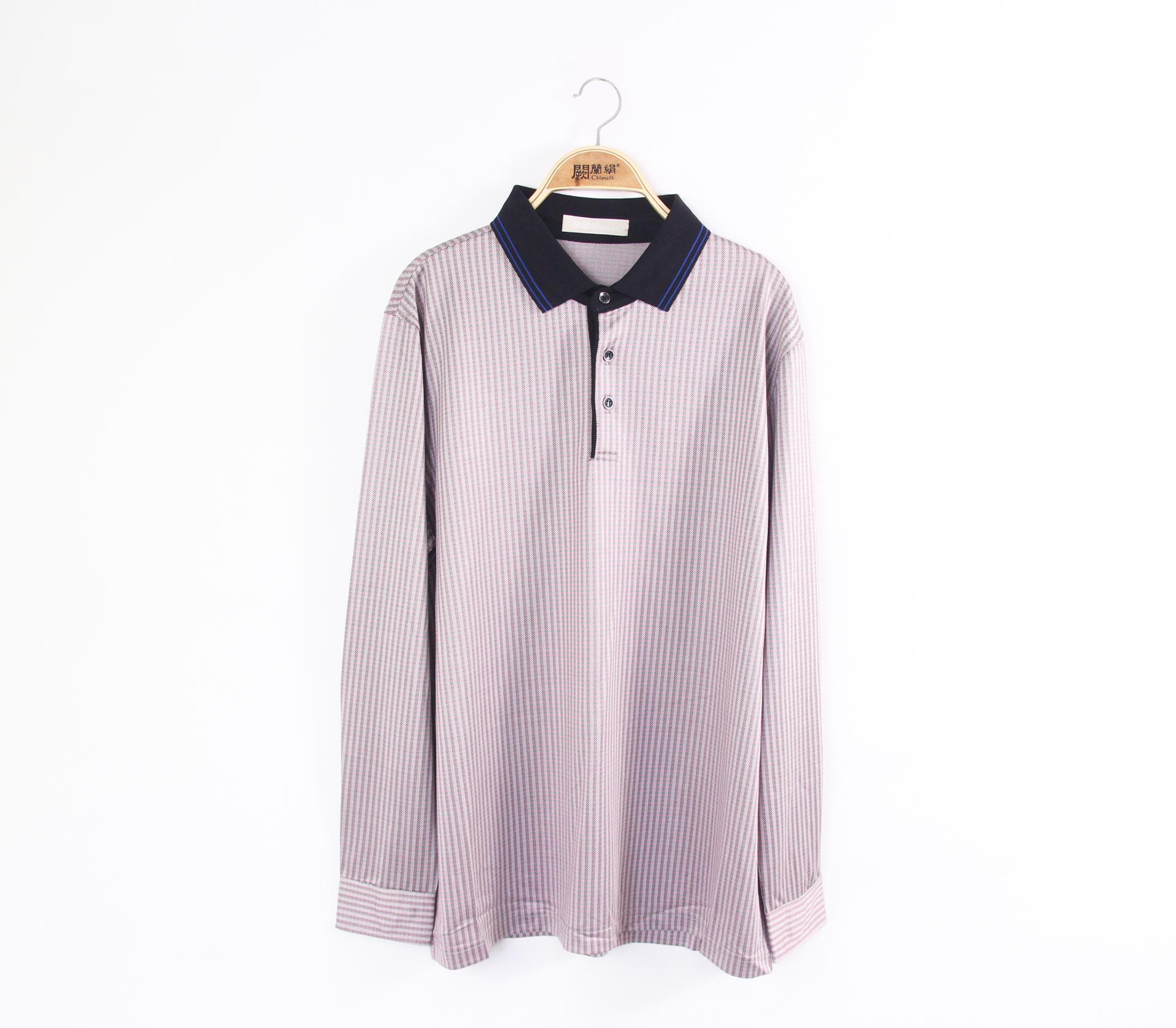 闕蘭絹親膚涼感100%蠶絲長袖POLO上衣-55023