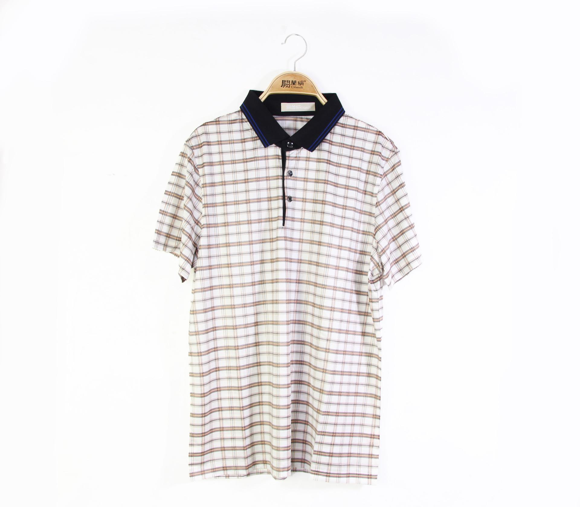 闕蘭絹舒適涼感經典格紋100%蠶絲polo衫(咖啡)-5504