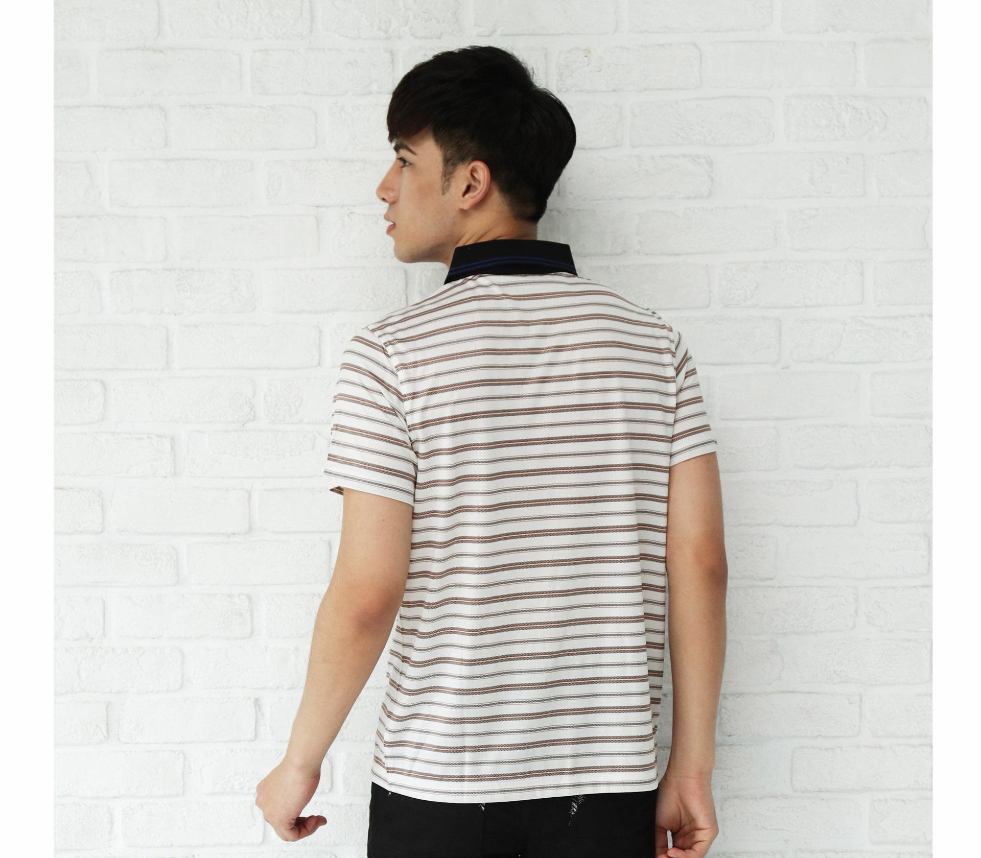 闕蘭絹舒適涼感經典線條100%蠶絲polo衫(咖啡)-5507
