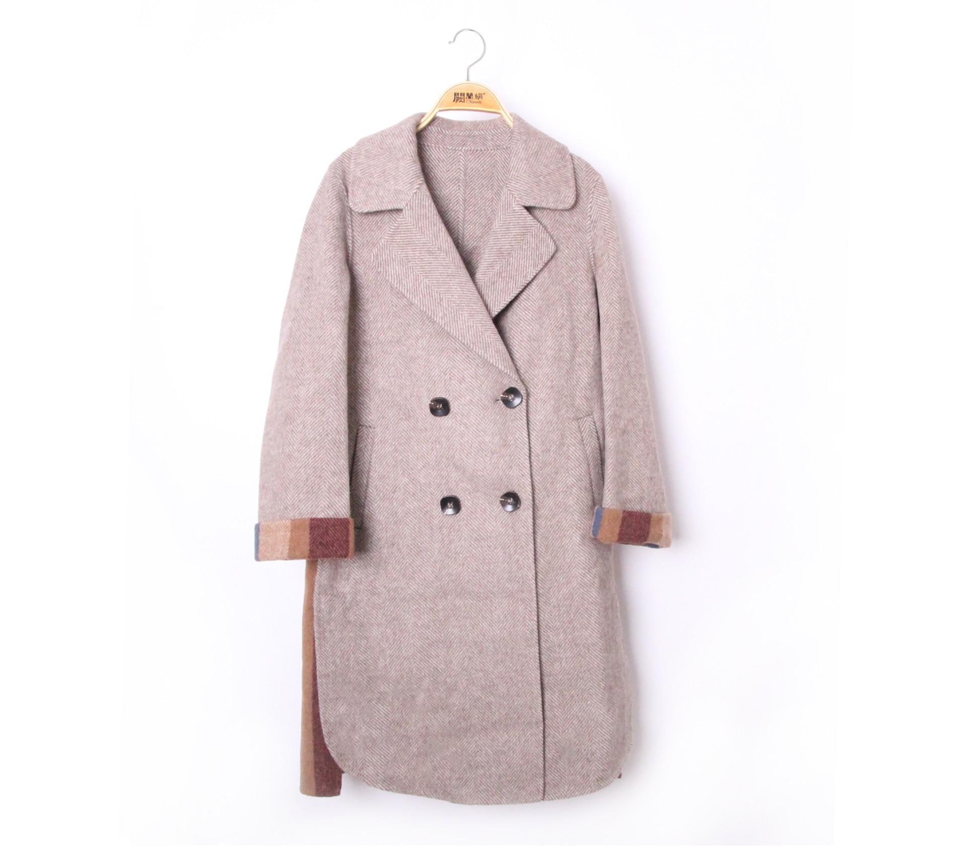 闕蘭絹撞色側邊格紋羊毛咖啡長版大衣-561