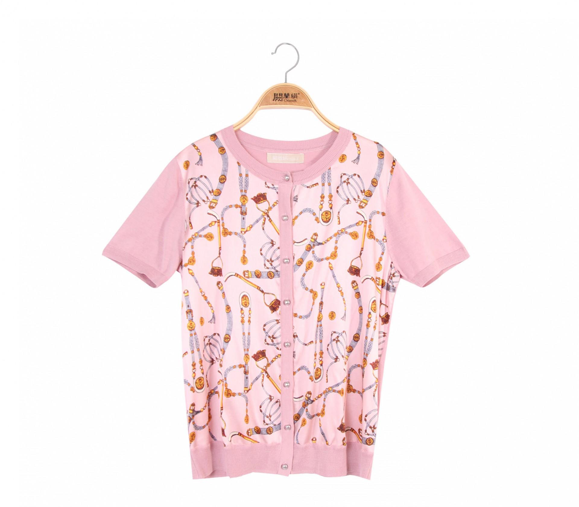 拼接滑布鎖鏈蠶絲針織外套 - 粉色 - 6003