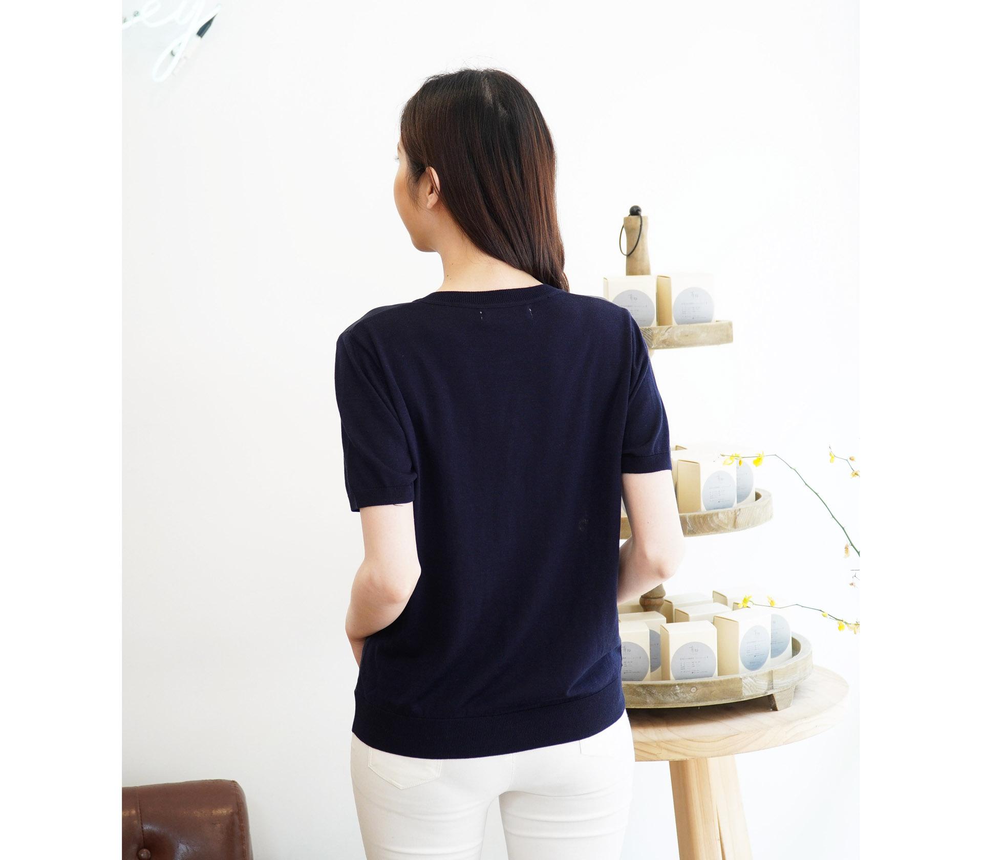 闕蘭絹拼接滑布熱氣球針織外套 - 藍色 - 6004
