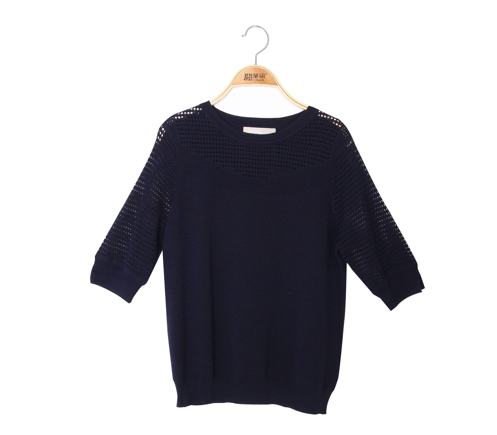 闕蘭絹簡約款小簍空蠶絲針織上衣 - 藍色 - 6006