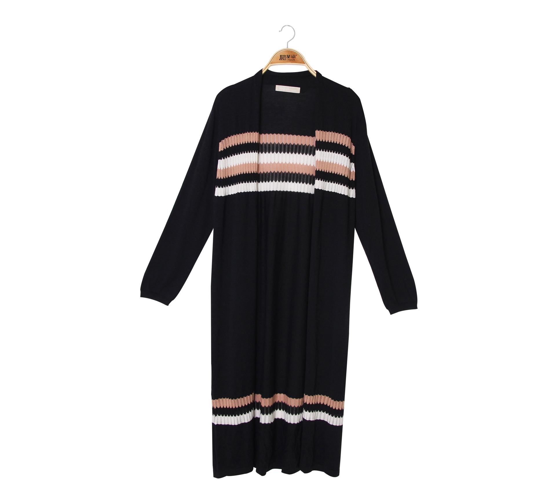 闕蘭絹隨興自在條紋針織長版罩衫外套 - 黑色 - 6009