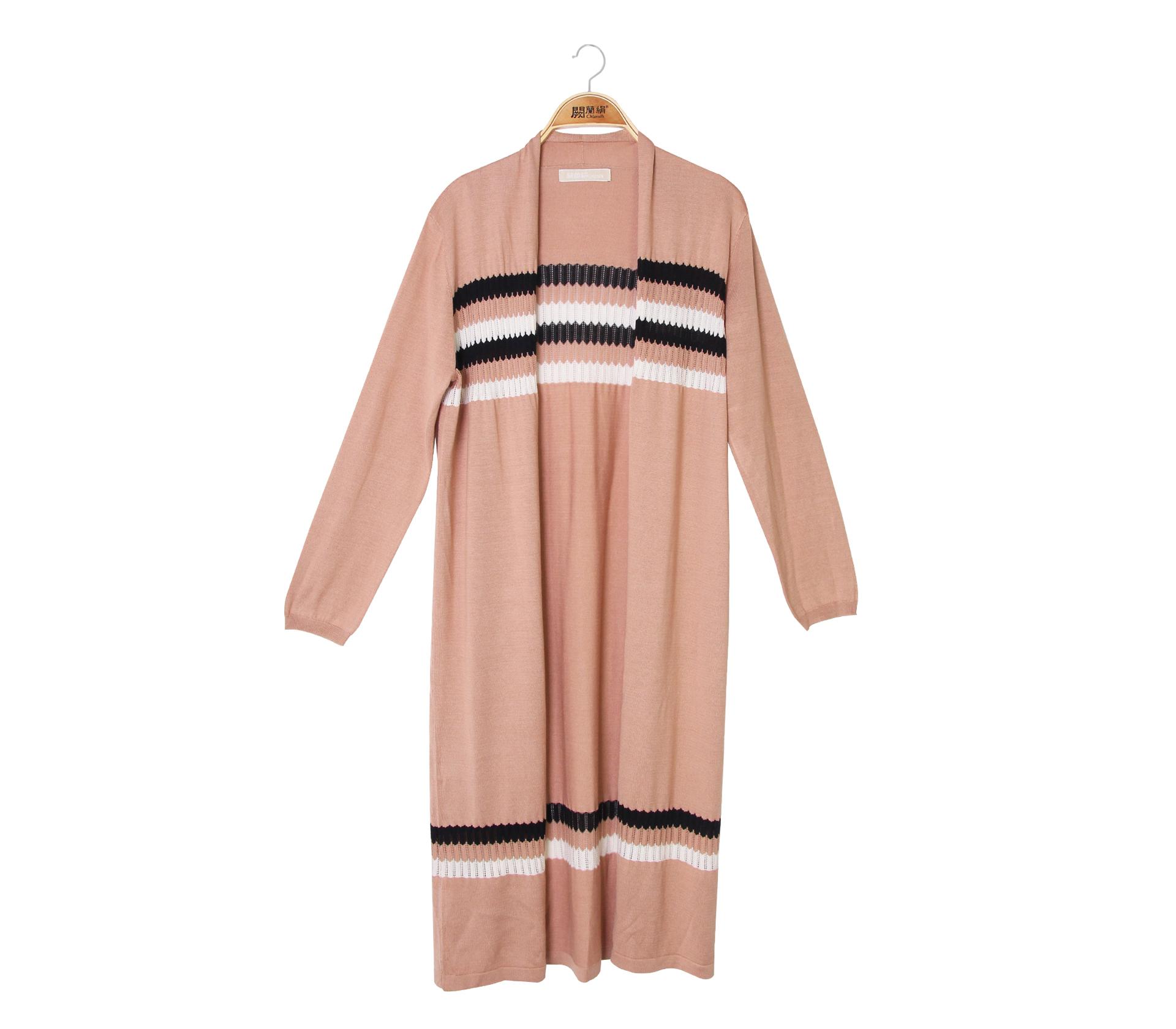 闕蘭絹隨興自在條紋針織長版罩衫外套 - 膚色 - 6009