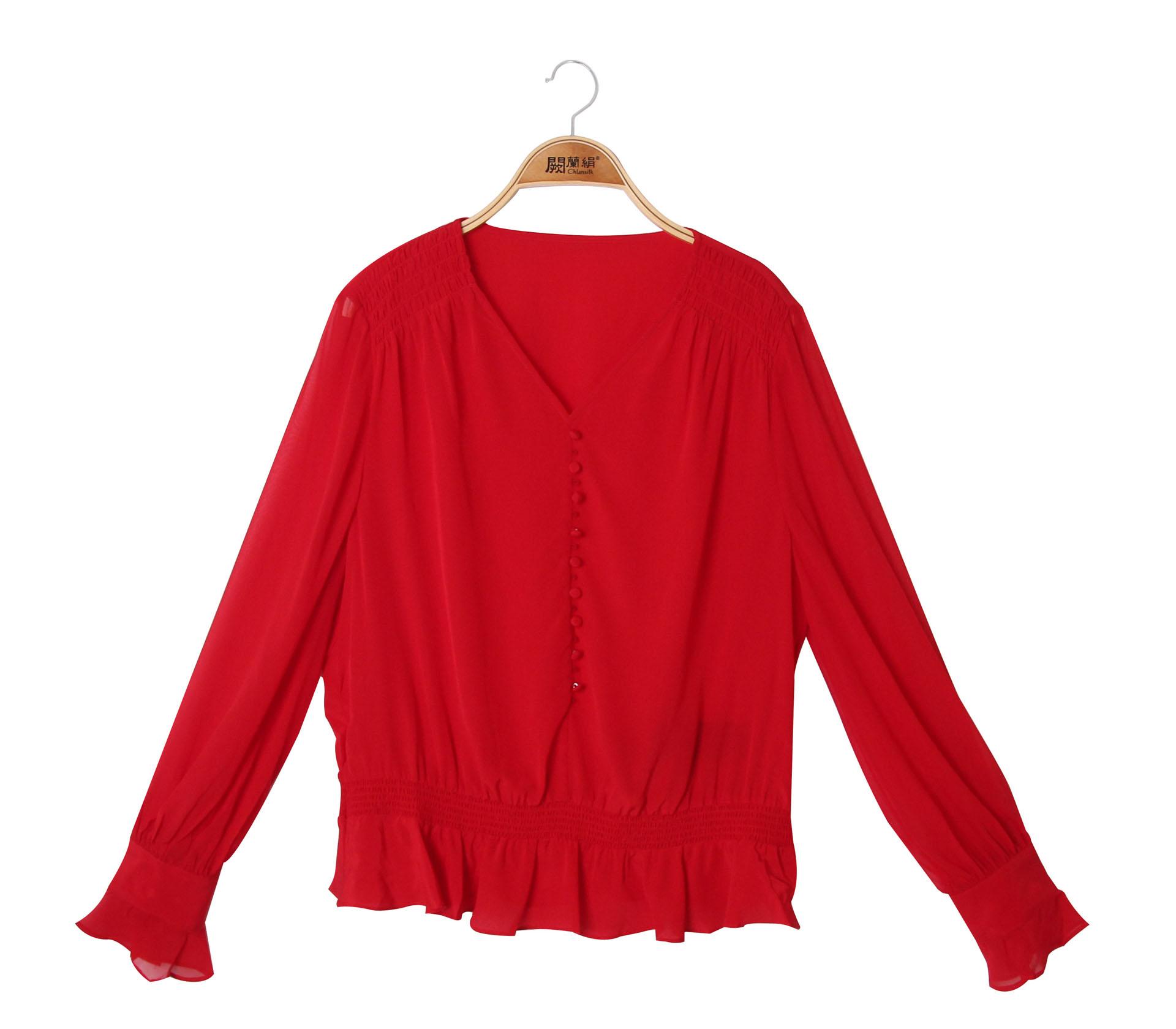 闕蘭絹甜美雅致V領縮腰造型100%蠶絲雪紡上衣 - 紅色 - 6011