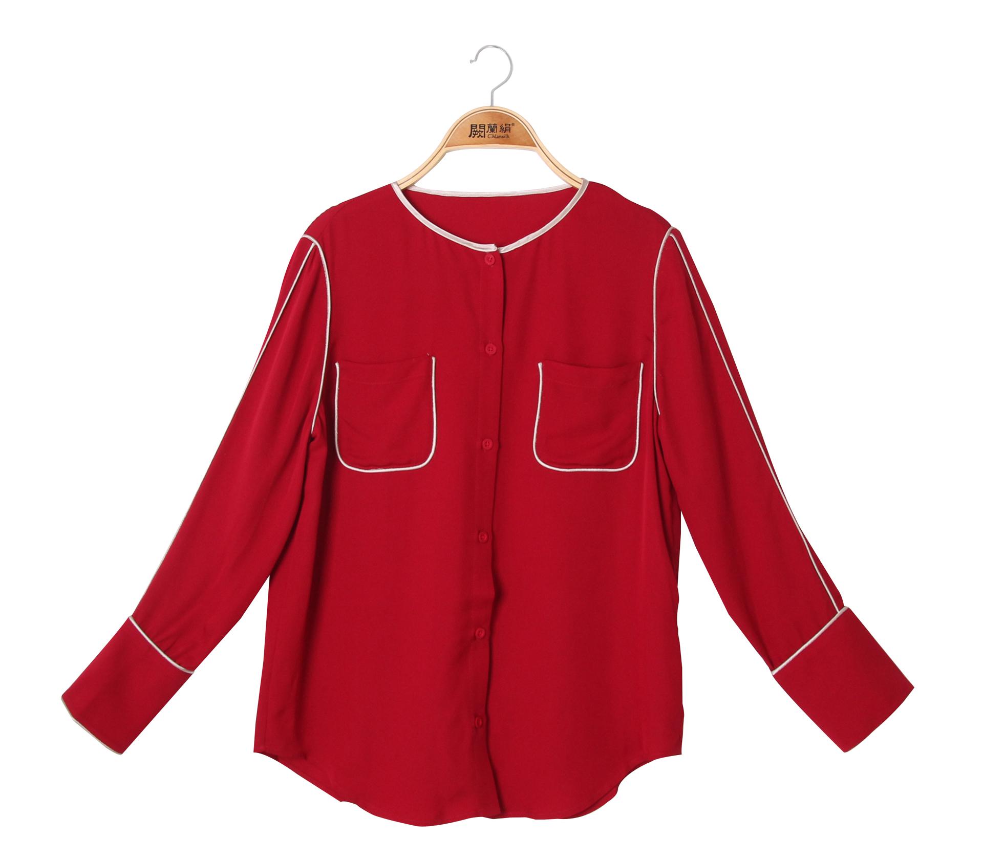 闕蘭絹配色滾邊雙口袋蠶絲紅色雪紡上衣 - 6013