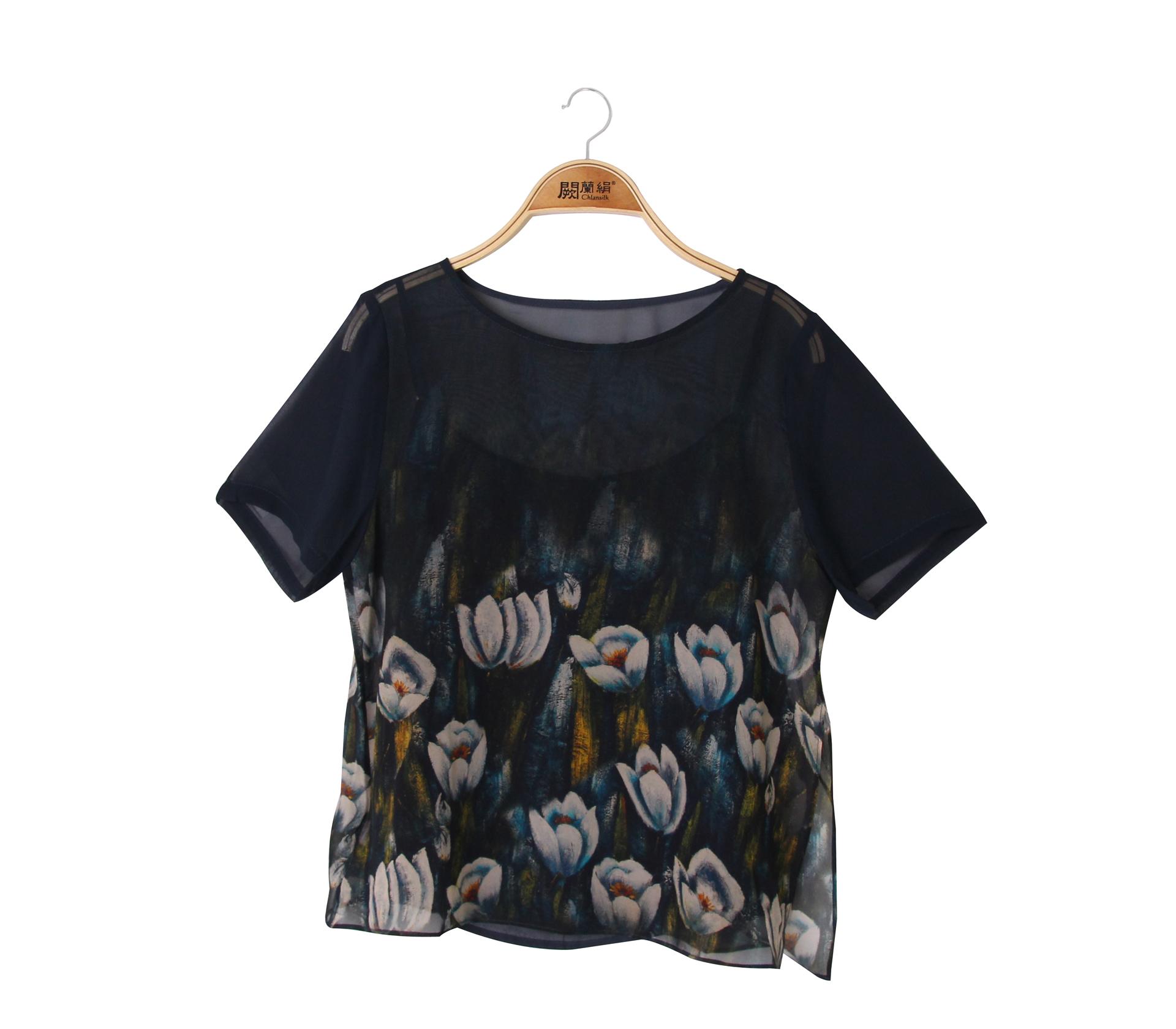 闕蘭絹兩件式花朵蠶絲雪紡上衣 - 綠色 - 6015