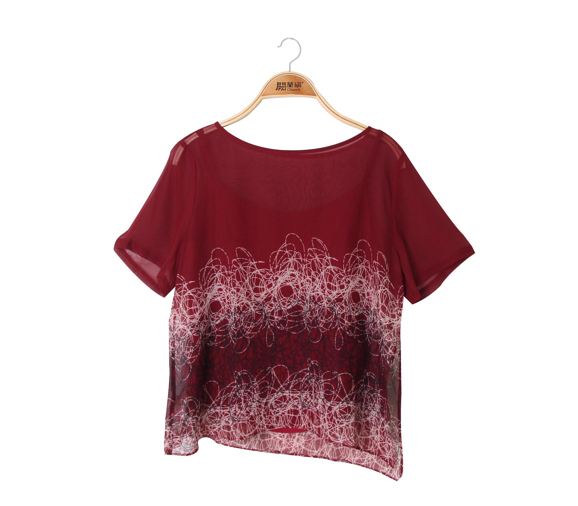 闕蘭絹兩件式線圈蠶絲雪紡上衣 - 紅色 - 6015