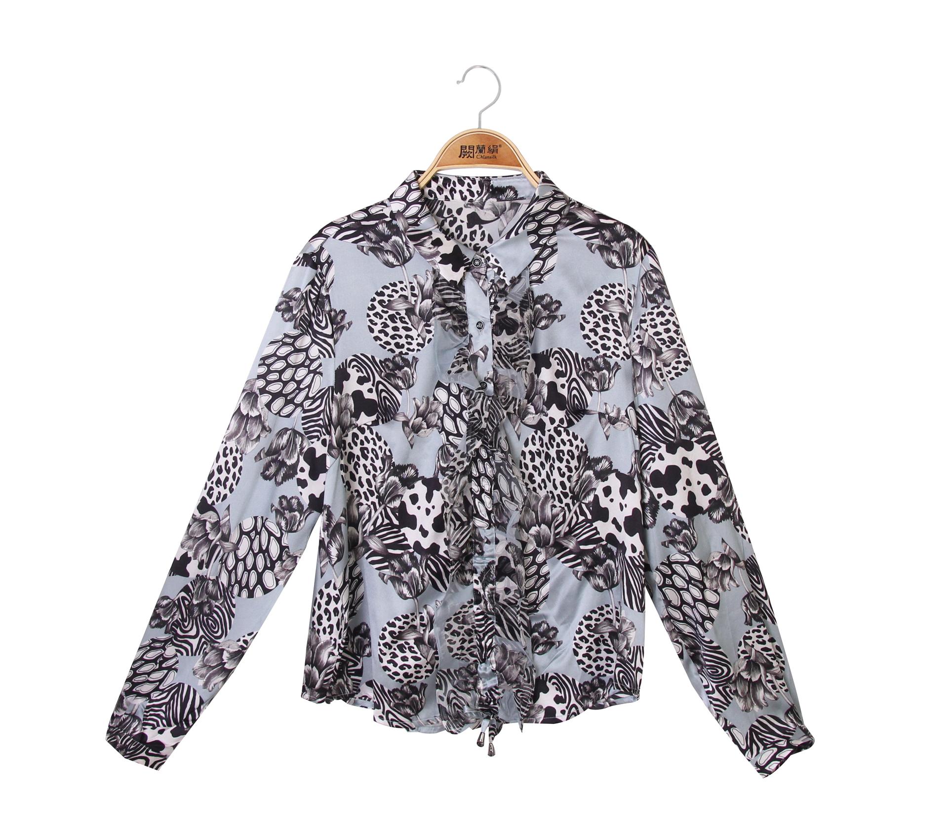 闕蘭絹獨特花紋小荷葉蠶絲雪紡襯衫 - 綠色 - 6016