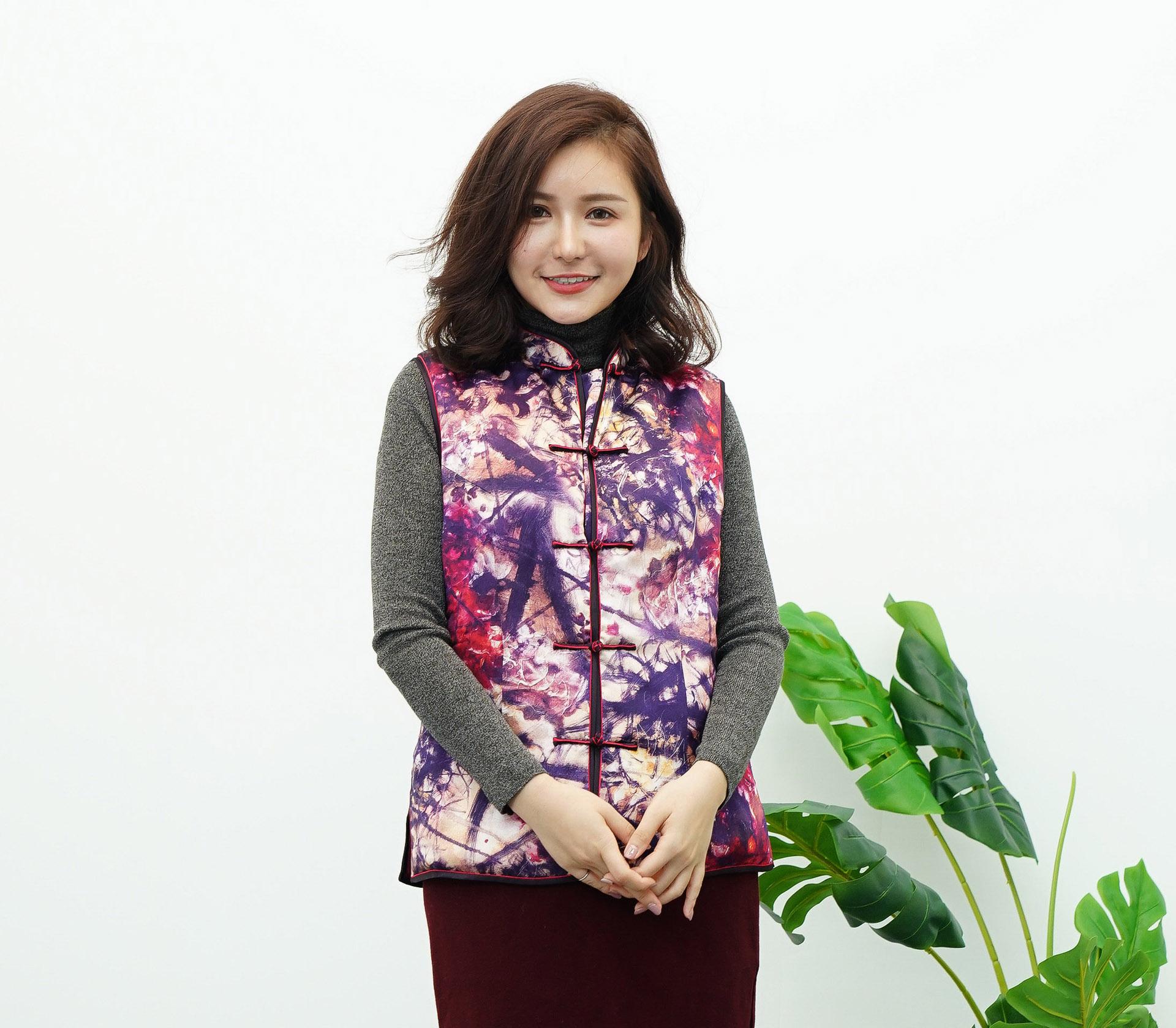 闕蘭絹質感美人蠶絲旗袍背心 - 6019